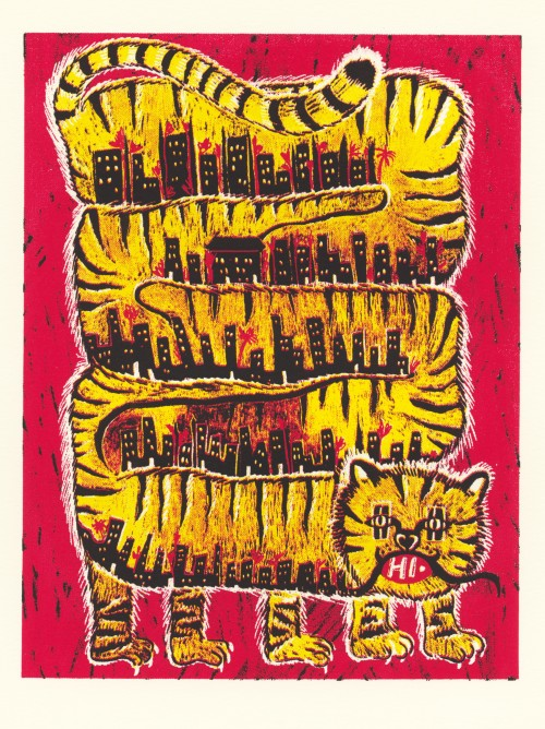 "3 color screenprint using red, yellow and black, showing a large winding tiger coiled on the page, with a city in its belly. Within its mouth is the word ""Hi"""