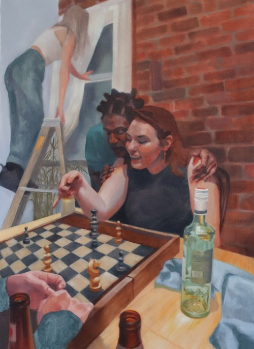 One figure is enjoying playing chess while another viewing is over their shoulder talking with them during a social gathering. In the background, there is another figure standing on a ladder looking and leaning against a window.