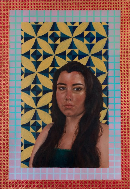 The painting depicts a bust self-portrait of the artist directly looking at the viewer. This piece has a red outer frame that depicts a gold rattan weaving pattern. The inner frame consists of a mint green to pastel blue gradient. On top of the gradient,