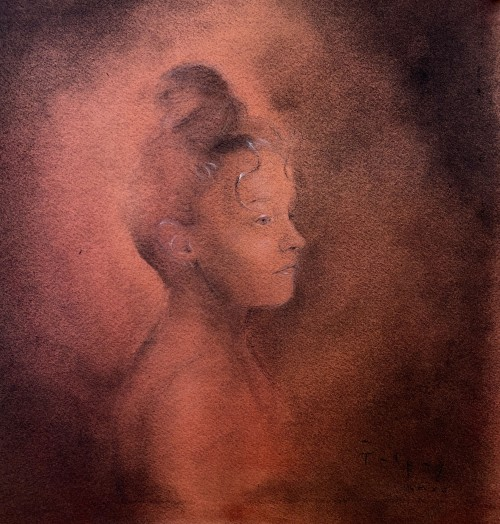 A charcoal and graphite drawing with white highlights on bright red paper of a woman looking over her shoulder in profile view, with a dark atmospheric haze.