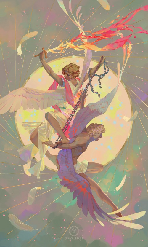 Brunette angel steps on blond angel while wielding a flaming sword