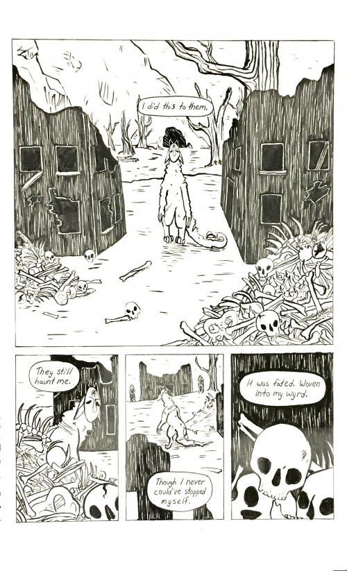 A comic page depicting a creature venturing through a village which he had previously destroyed, and reflecting upon his actions.  It appears as though he regrets what he did and the people he harmed.