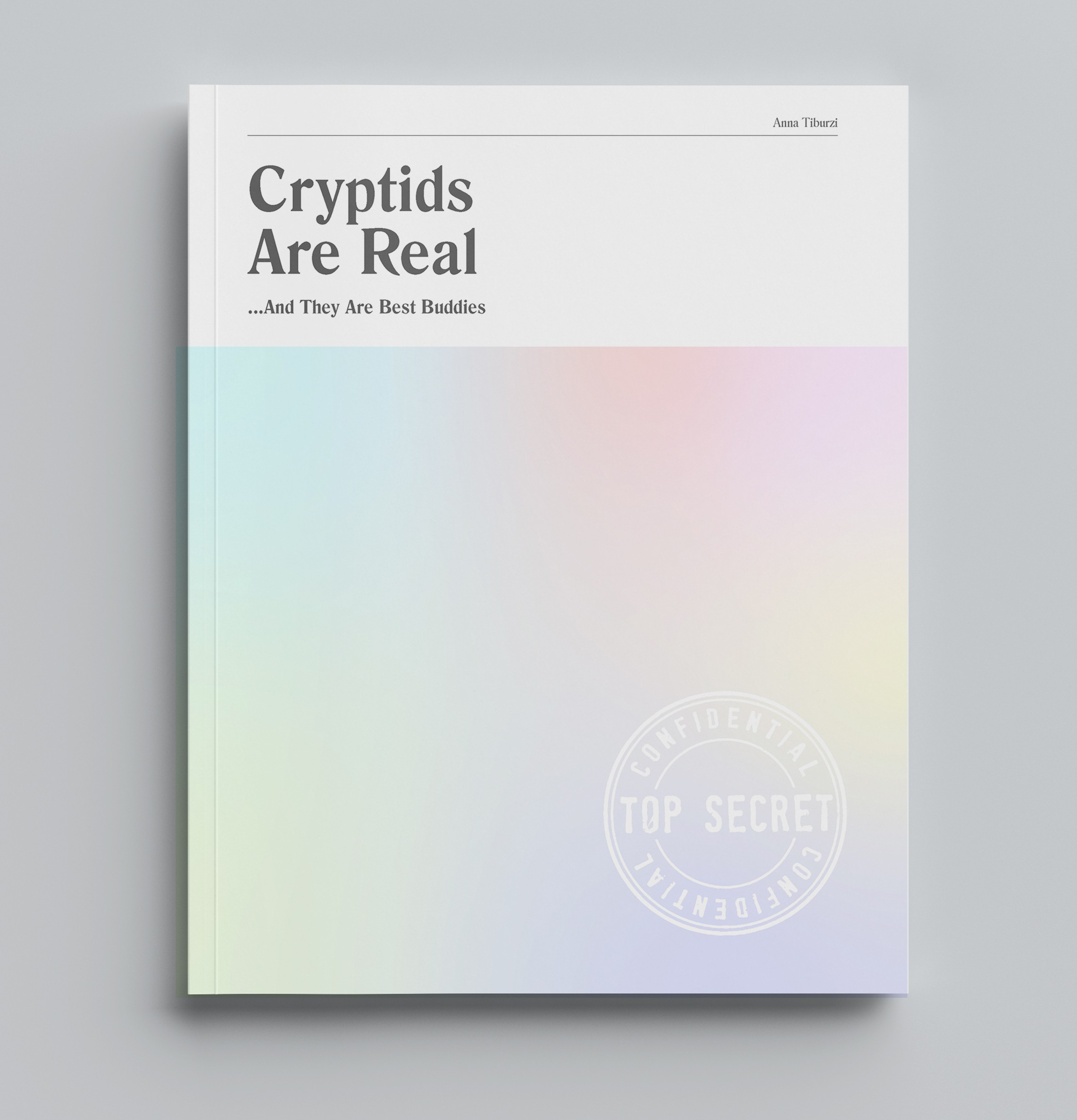 "Soft gradient book cover with title ""Cryptids are Real.. And They Are Best Buddies"""