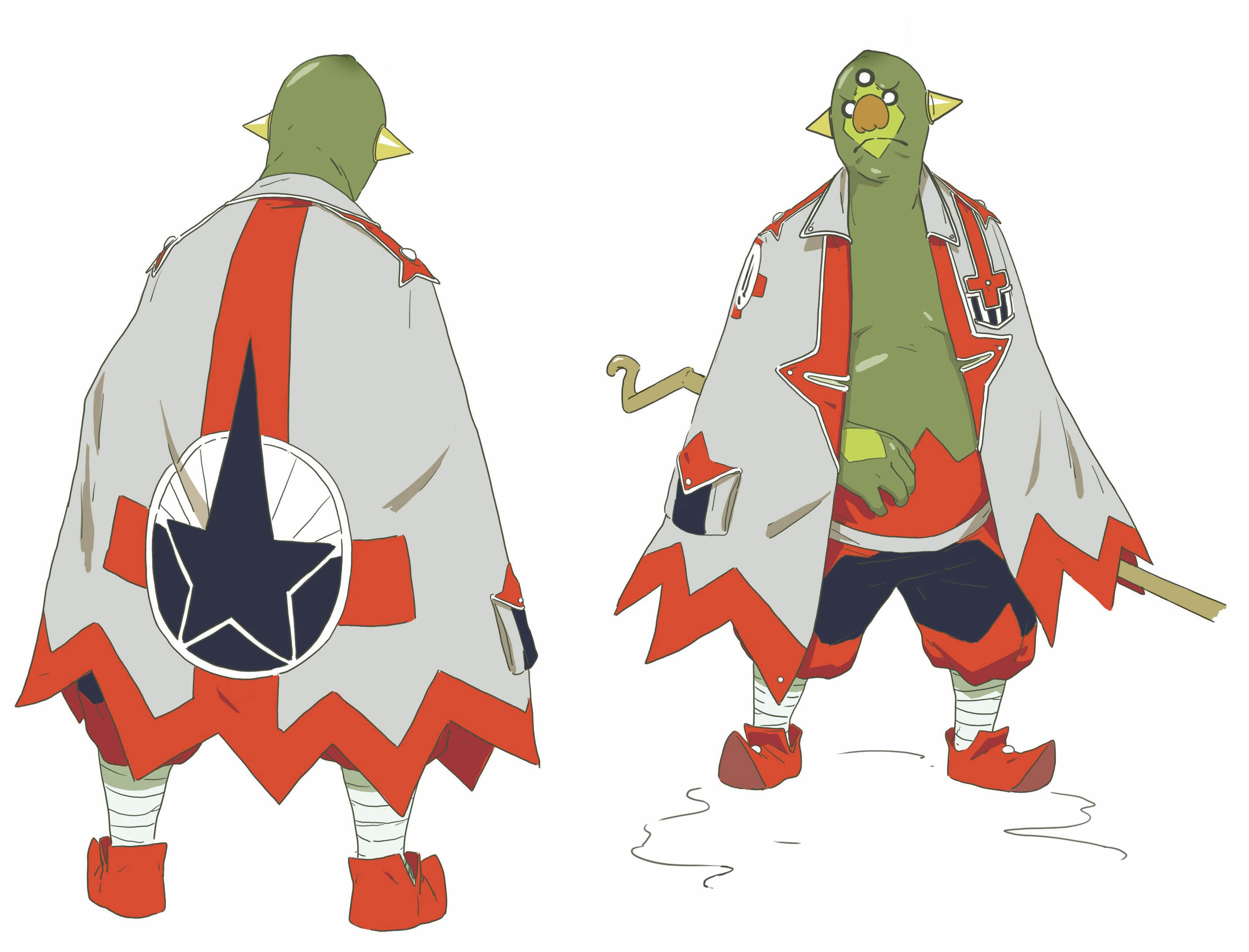 """theses are character designs of an bird alien and a green man for a film concept title """"3035."""""""