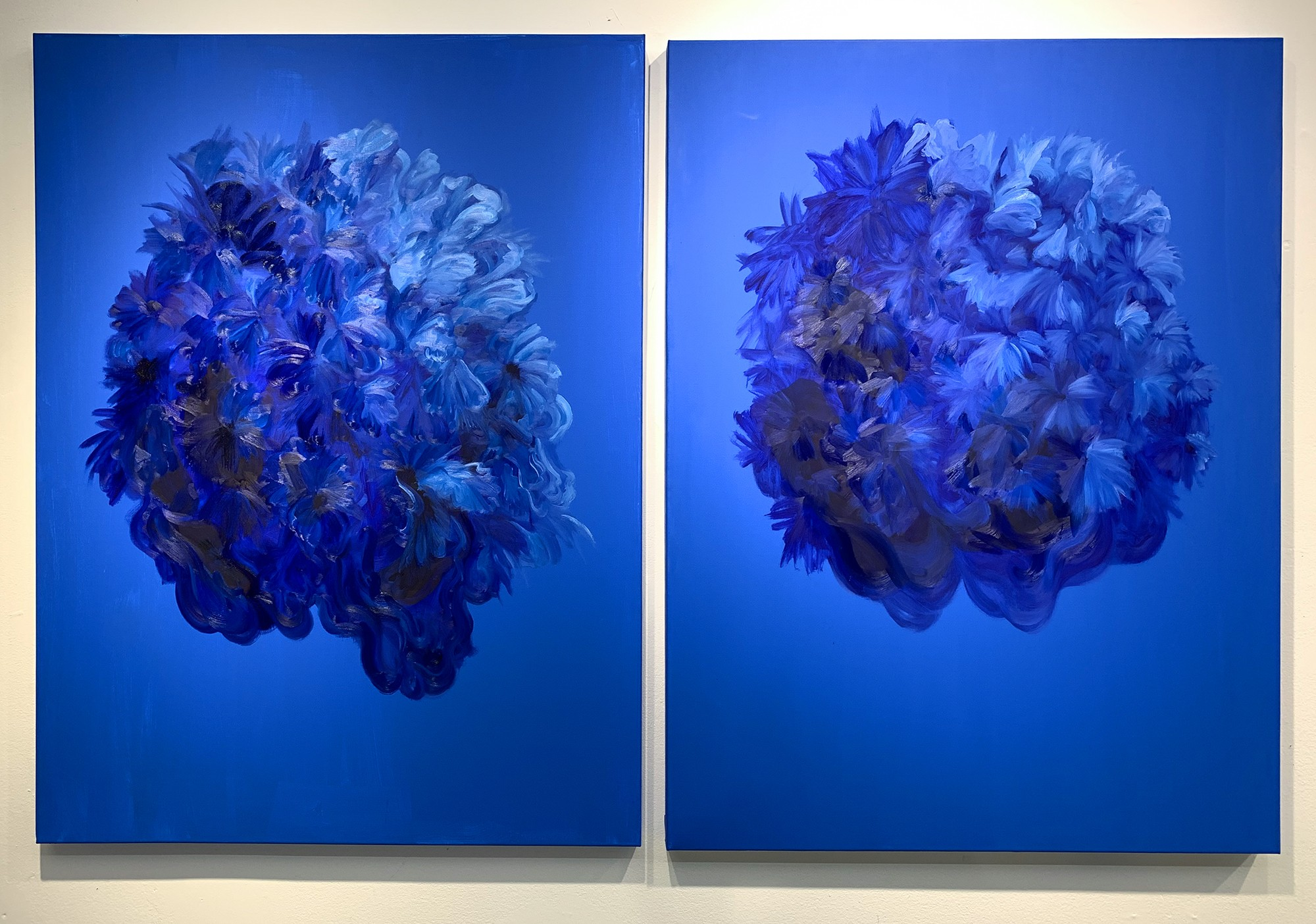 Untitled (Blue flower diptych) by Shelby Corso