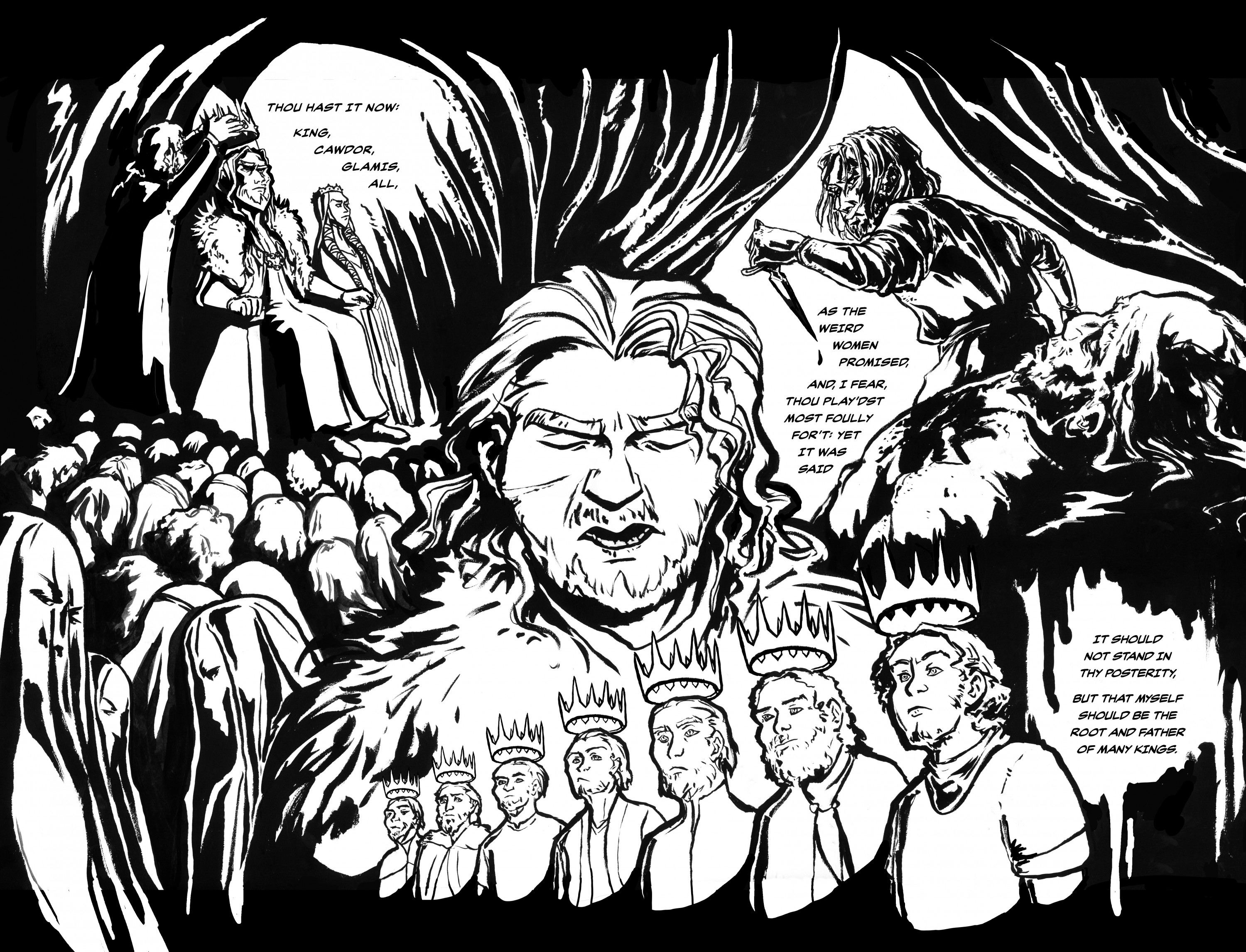A black and white comic book page of Banquo surrounded by scenes of the events leading up to Act 3. He is narrating these past events.