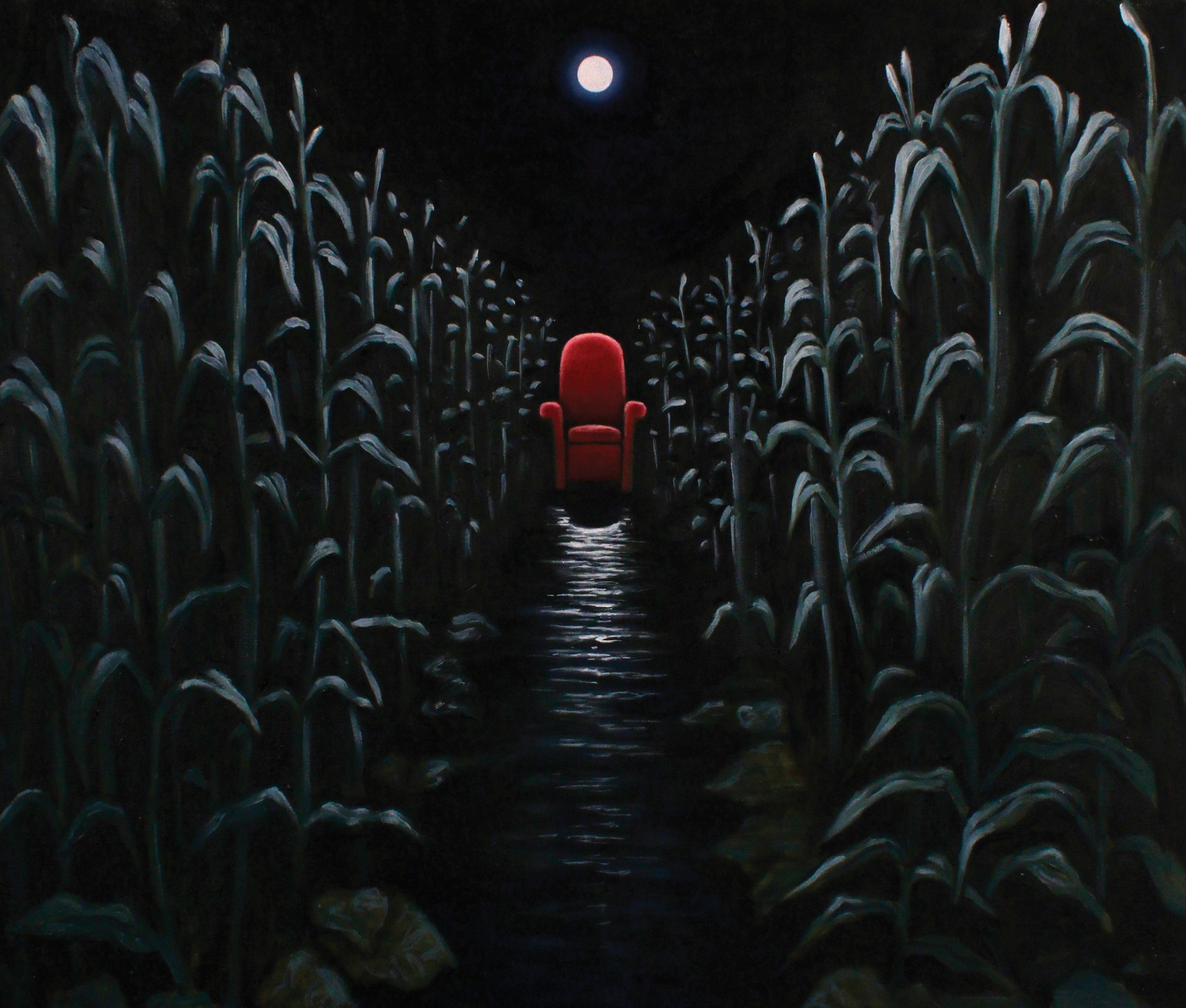 A red throne sits under a clear night sky with a bright full moon directly above it. It is a dark evening, but the moon shines clearly on the corn stalks that stand tall to either side of the chair. The line the water pathway from the viewer to this red t