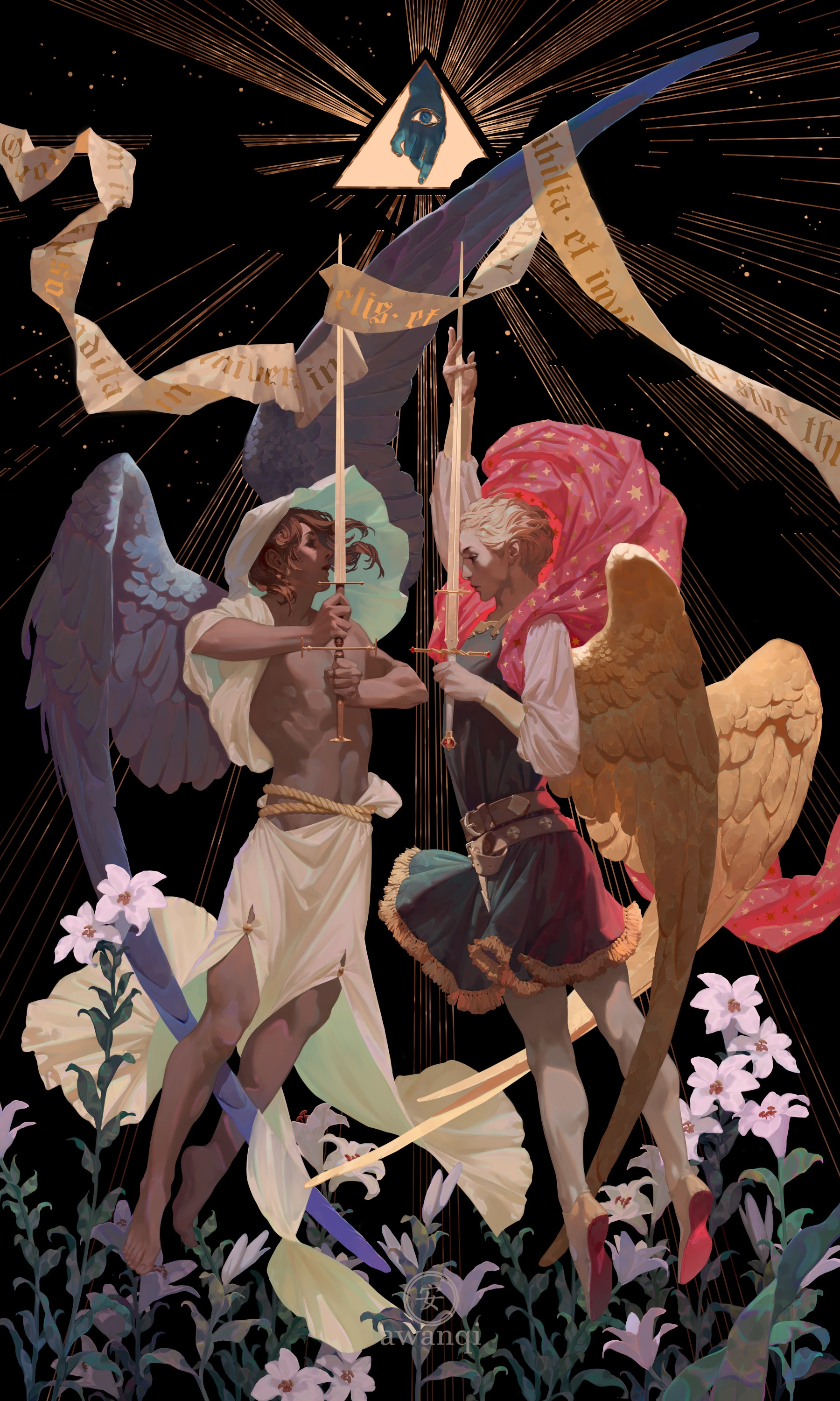 Two angels holding swords against a black background