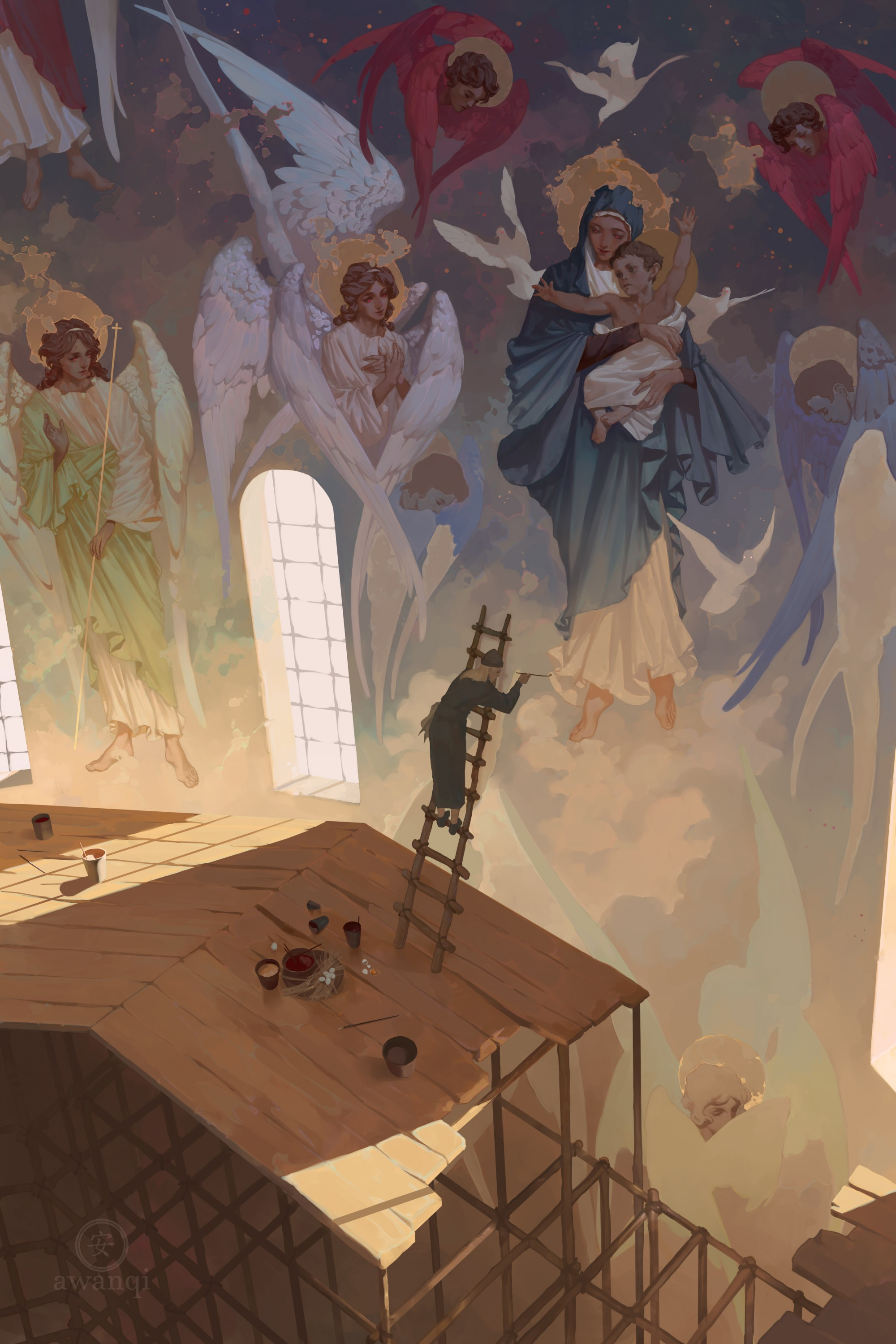 An Orthodox priest paints murals on a church wall