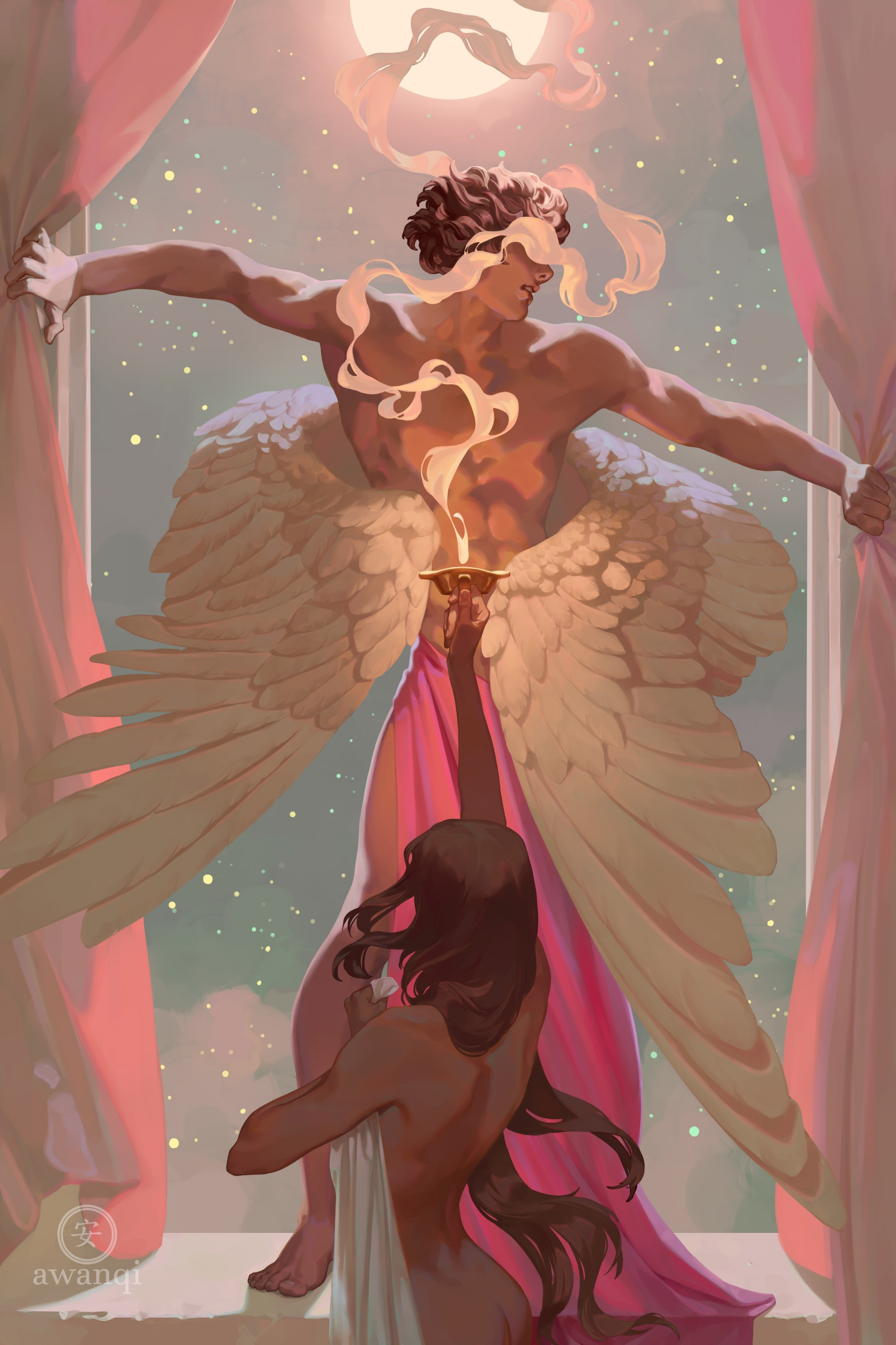 A young woman holds a smokey candle up to a winged man