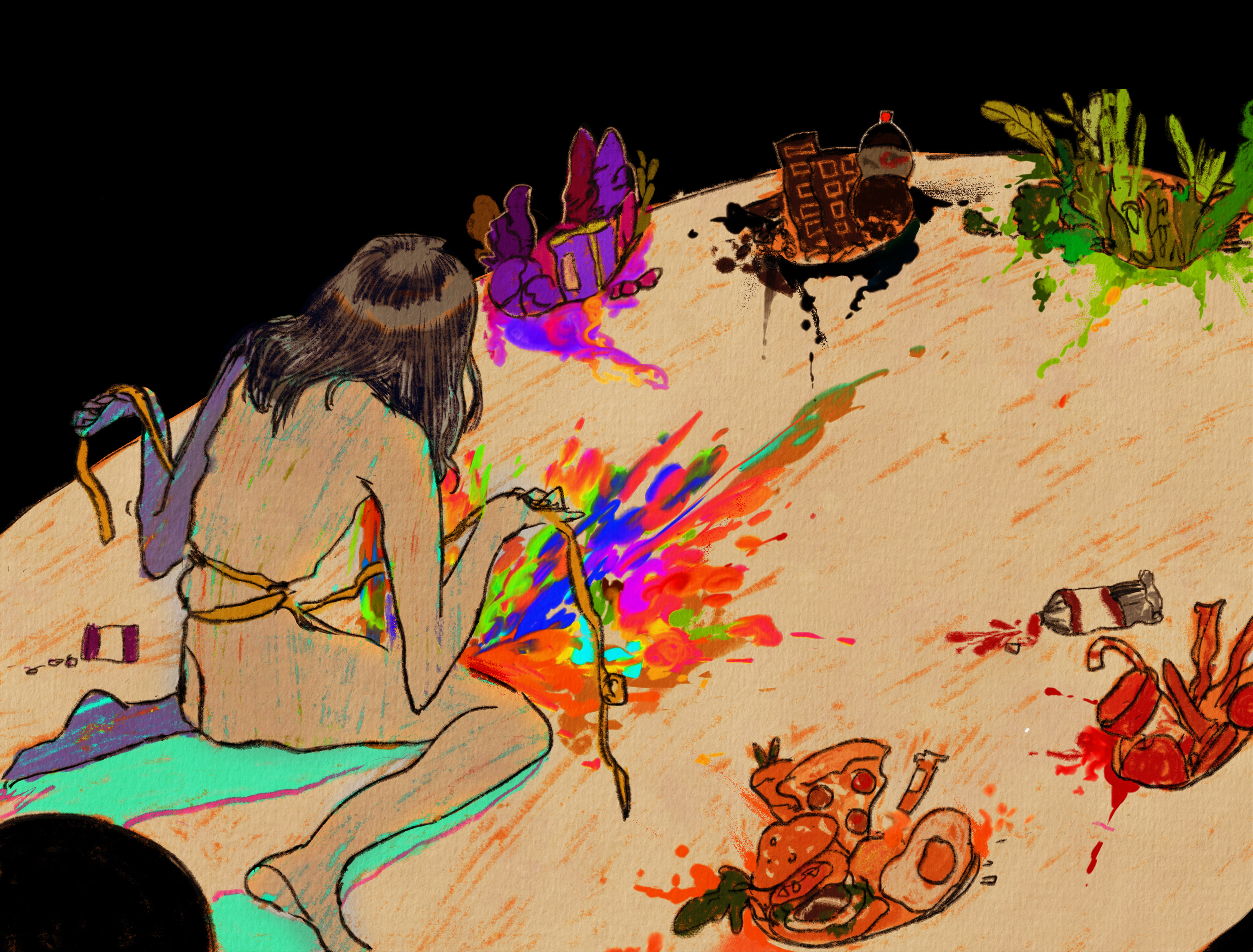 A female figure sit on a color palette filled with colorful foods, strangling her waist with a rope measure and vomiting the pigments out