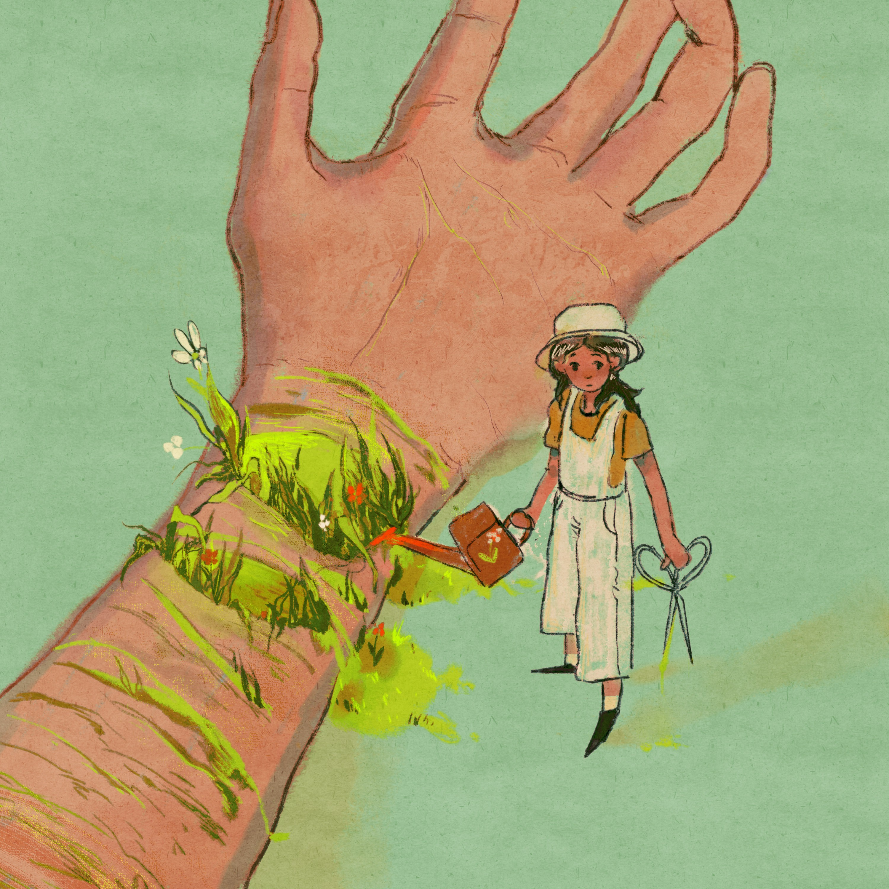 Grass and flowers grow out of a cut wrist, a girl figure with scissors in her hand is watering them