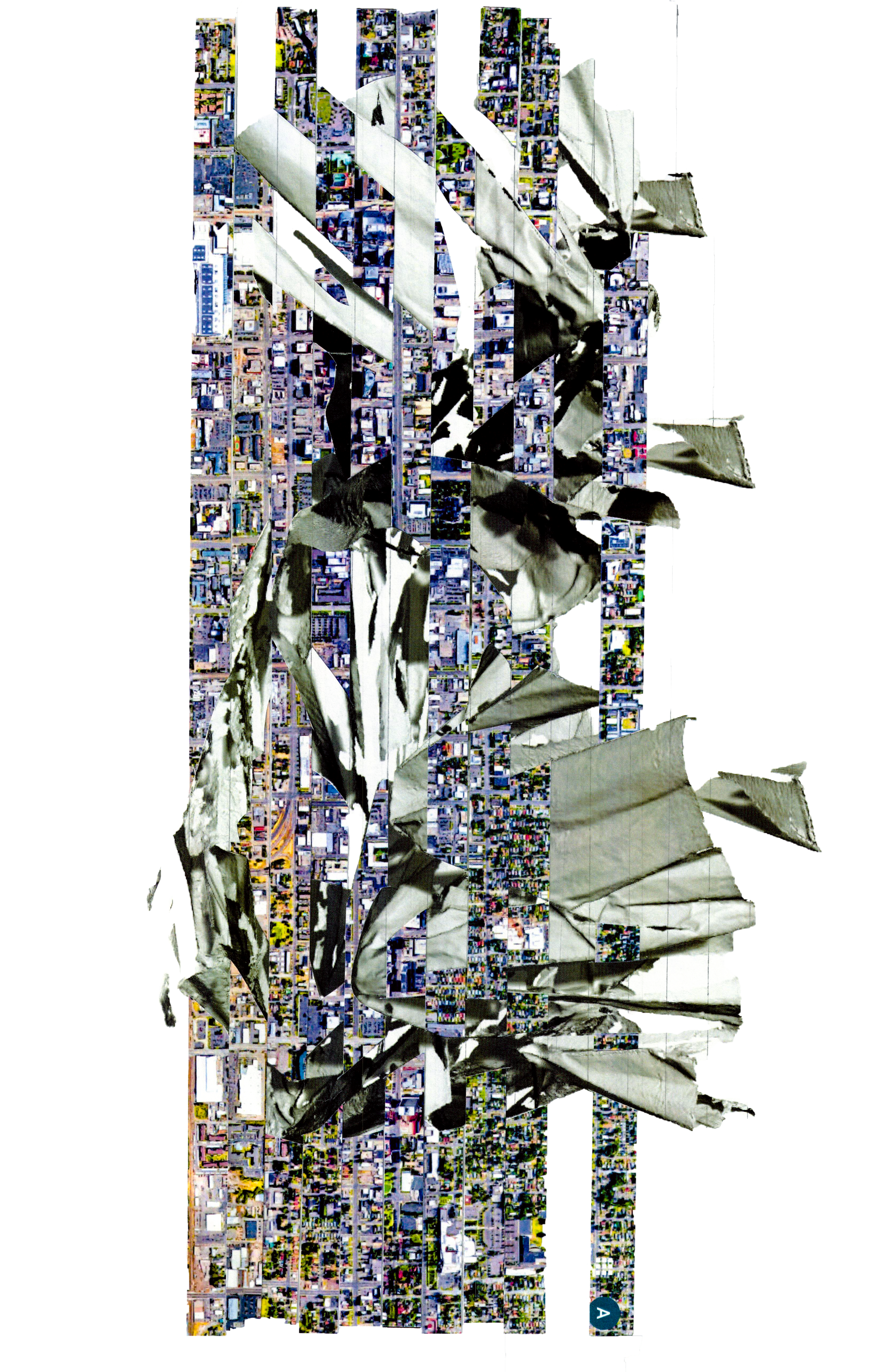 """Satellite photos of Salt Lake City, Utah spliced/woven into images of my digital """"scape"""" model."""