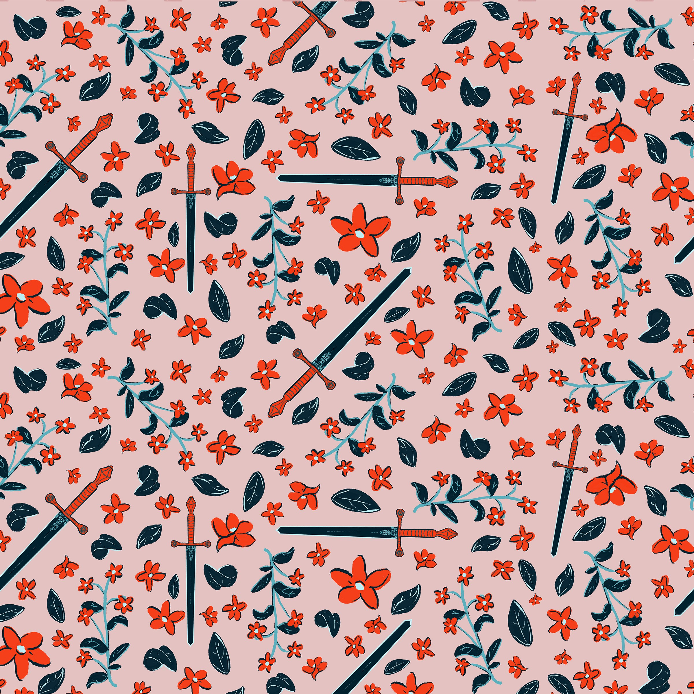A red, pink, and blue pattern containing swords, leaves, and various flowers.
