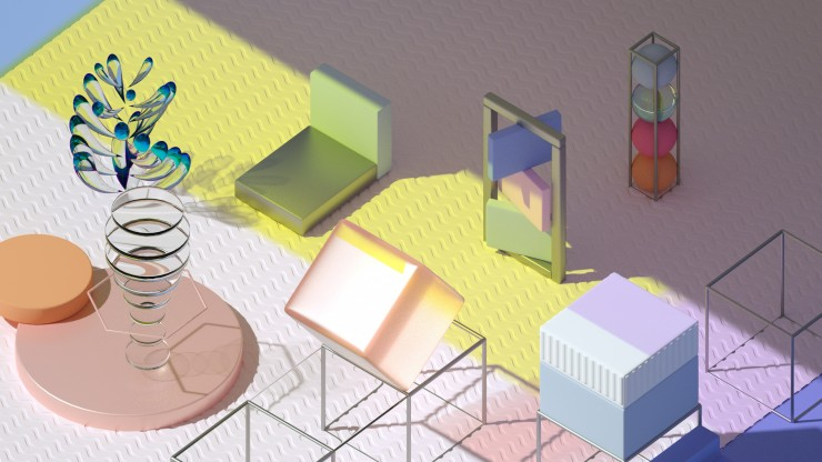 geometric shapes/objects in a room