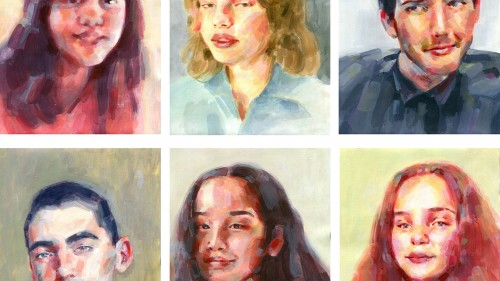 "Zoe Schweiger ""Distant Portraits"" Acrylic on paper"