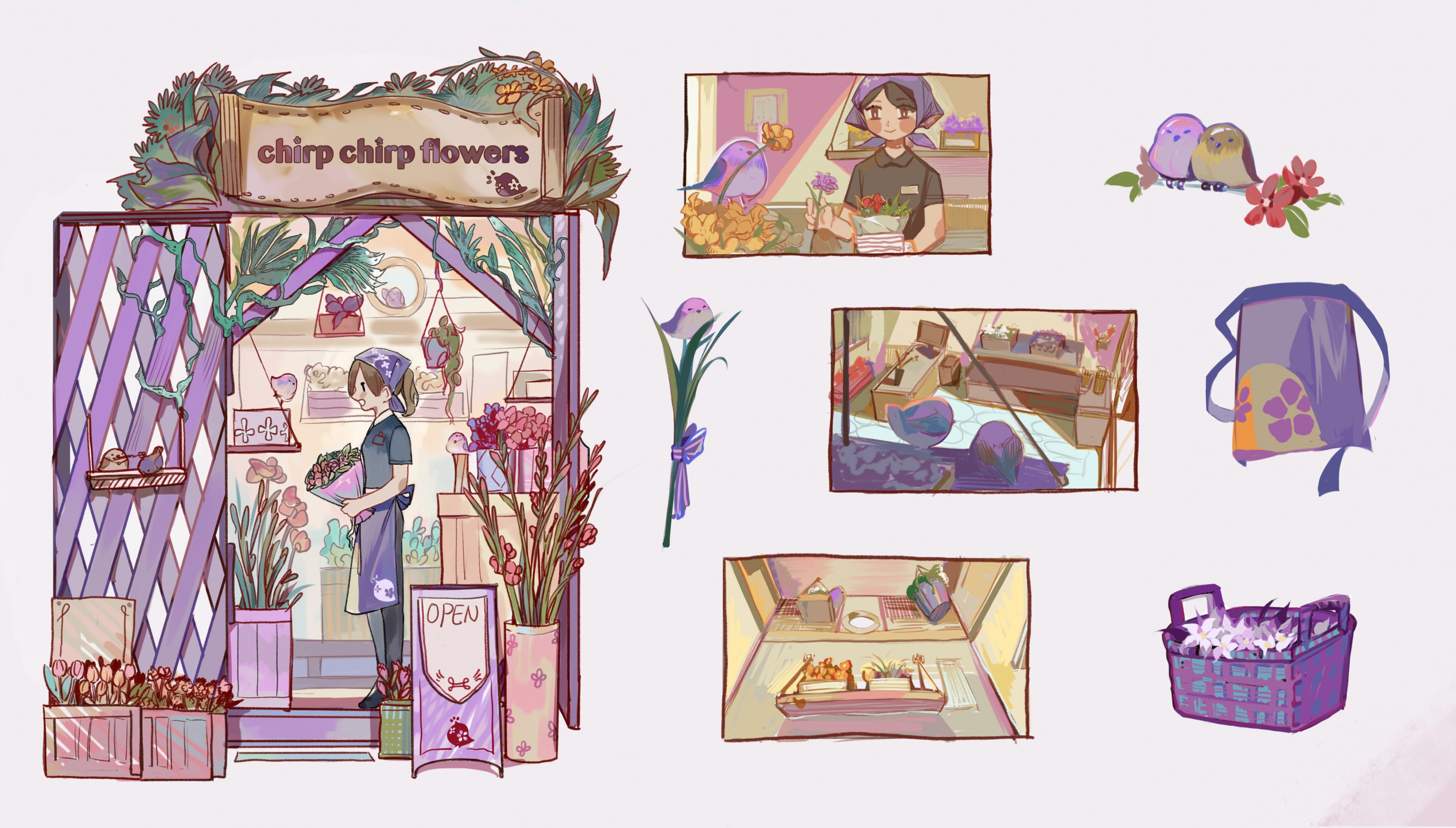 Chirp Chirp Flowers is a flower store locating in the Shakuza. With the white-browed tit-warbler as the star bird. The design of the store is based on the color palette of the tit-warbler and aiming to bring the most comfortable feelings in the store and