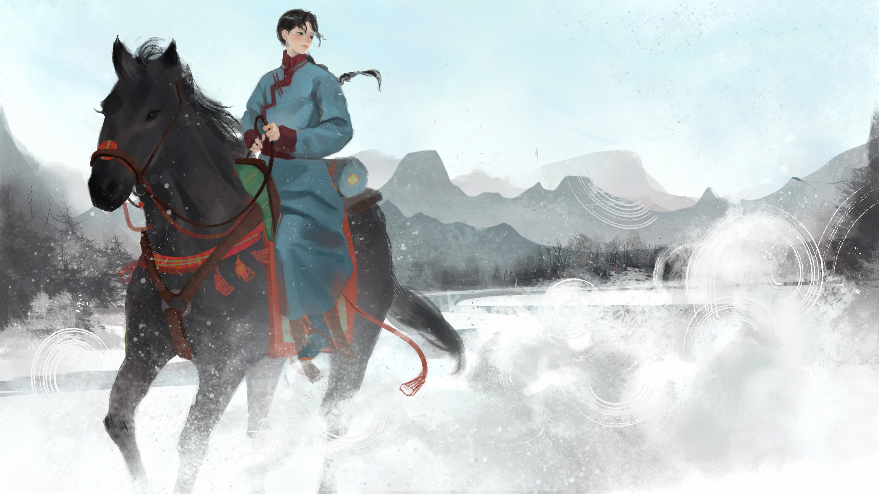 Rider and her horse trotting on snowy plane