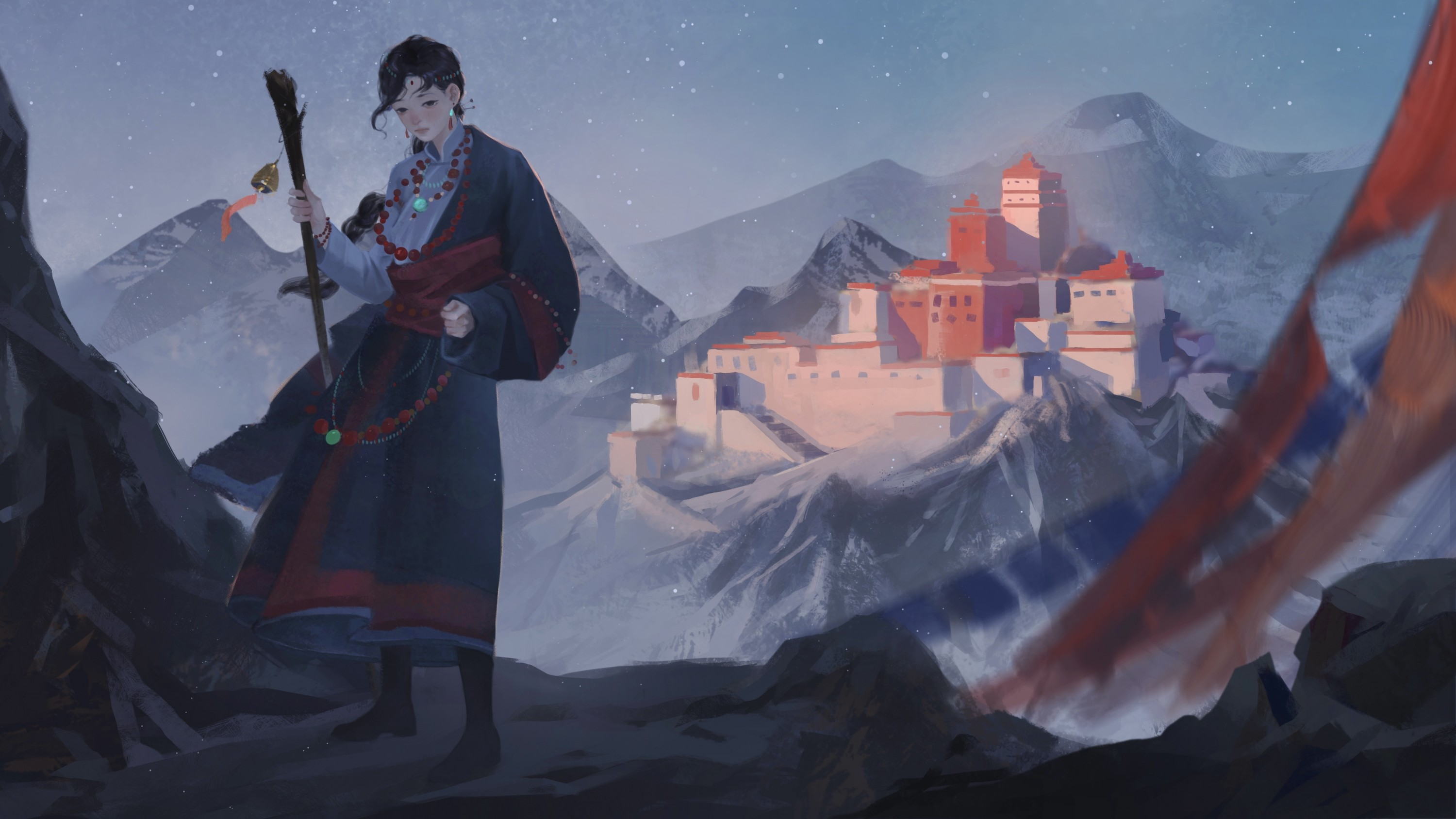 The traveler stood among the snow mountains