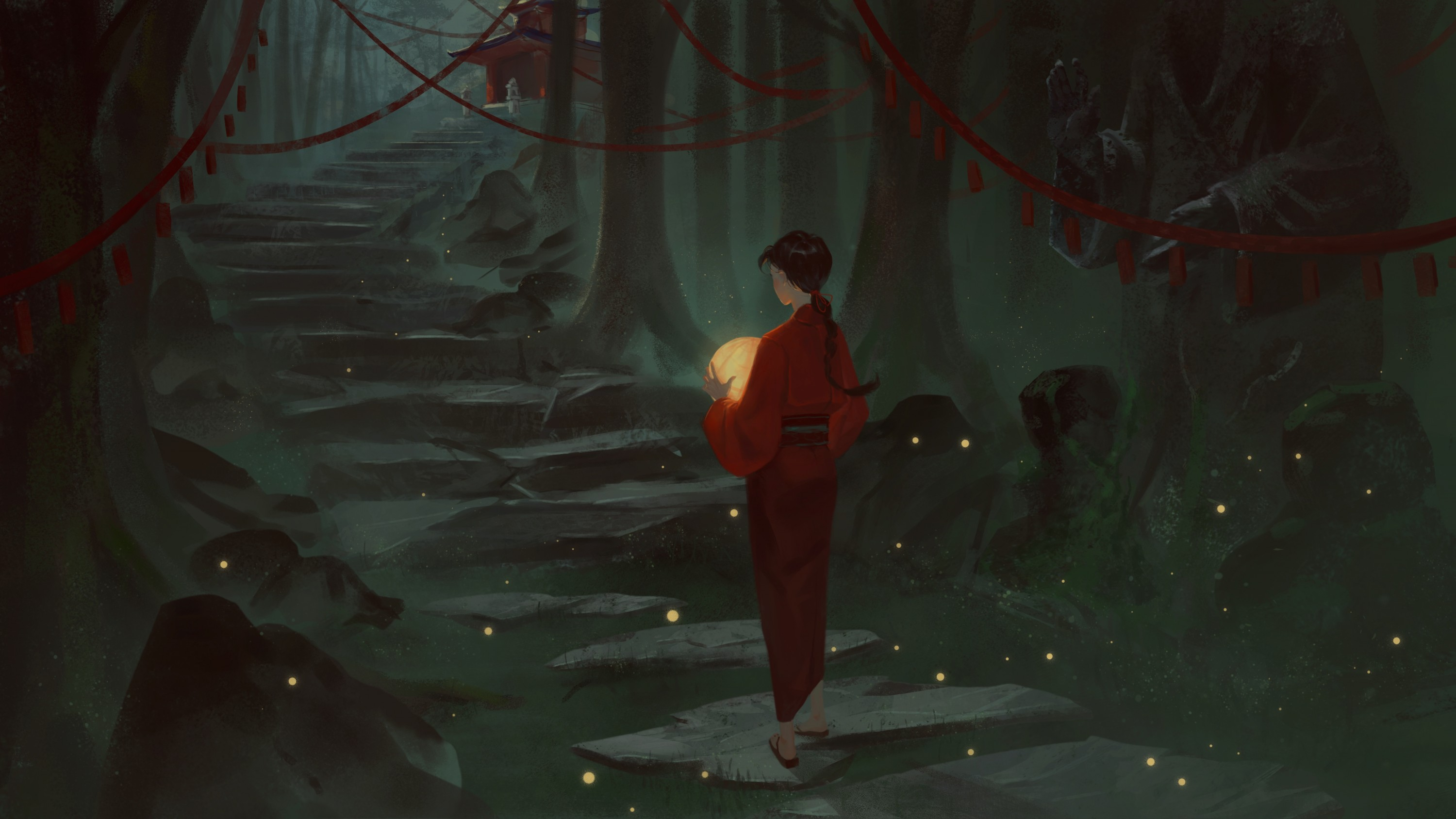 The girl walks towards the temple among the woods while holding her lantern.