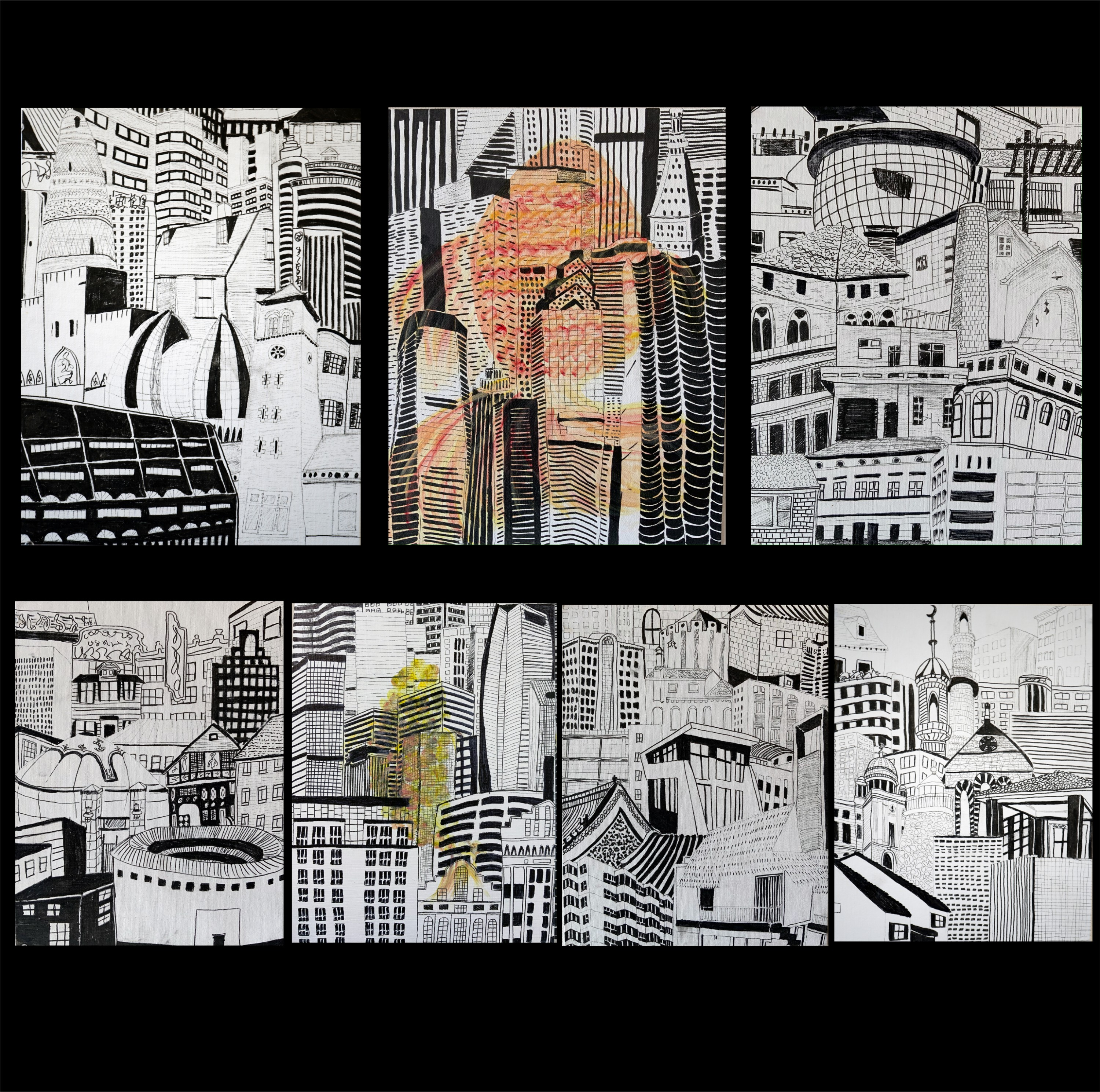 Thes are some of my early drawings of the buildings, I draw them from bottom to top, place them like fish scales. These are all building from my memories to different times and places.