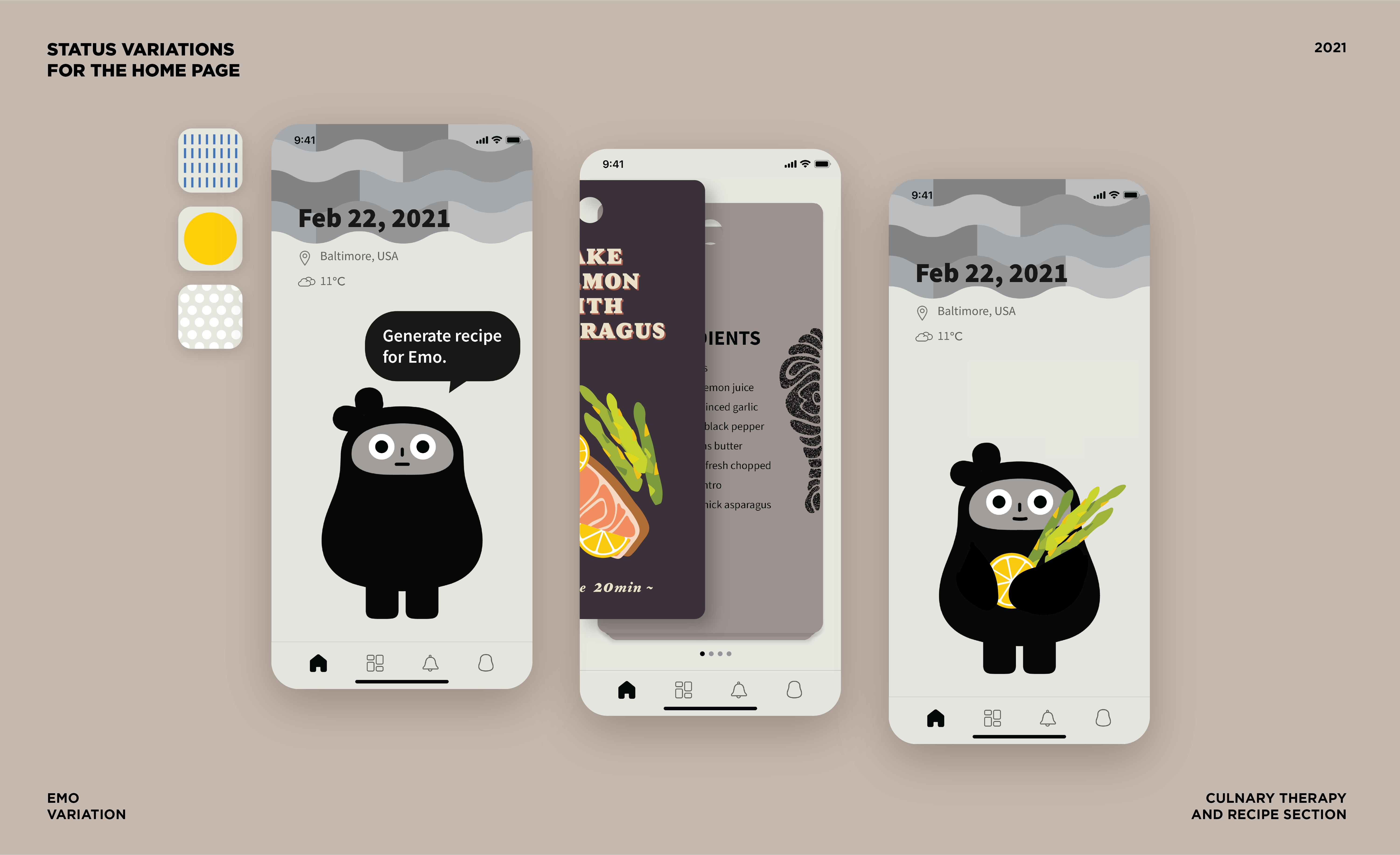 The user interface design of EMO, a mental health recording and culinary therapy application.