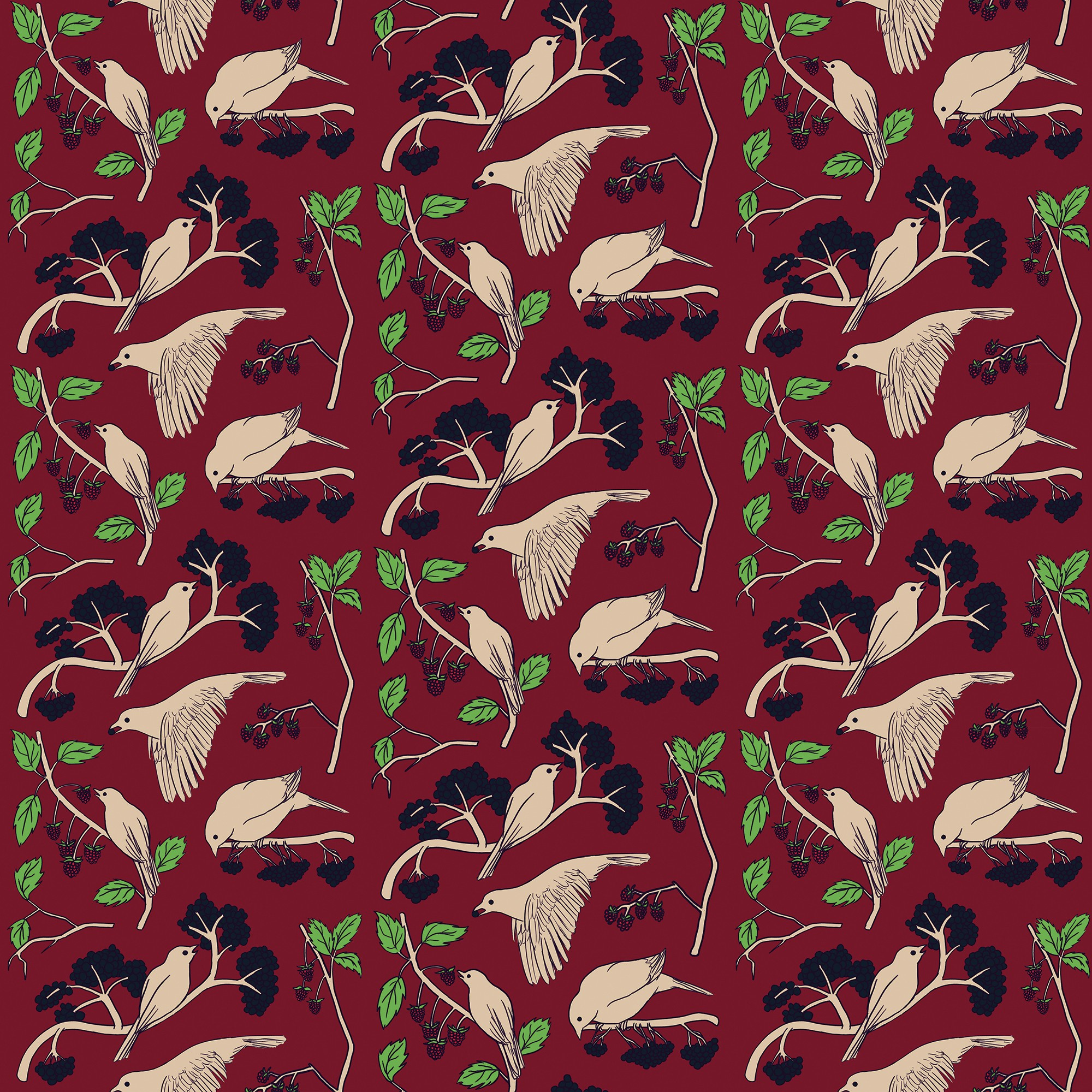 Repeating pattern of birds flying and feeding off of berry branches