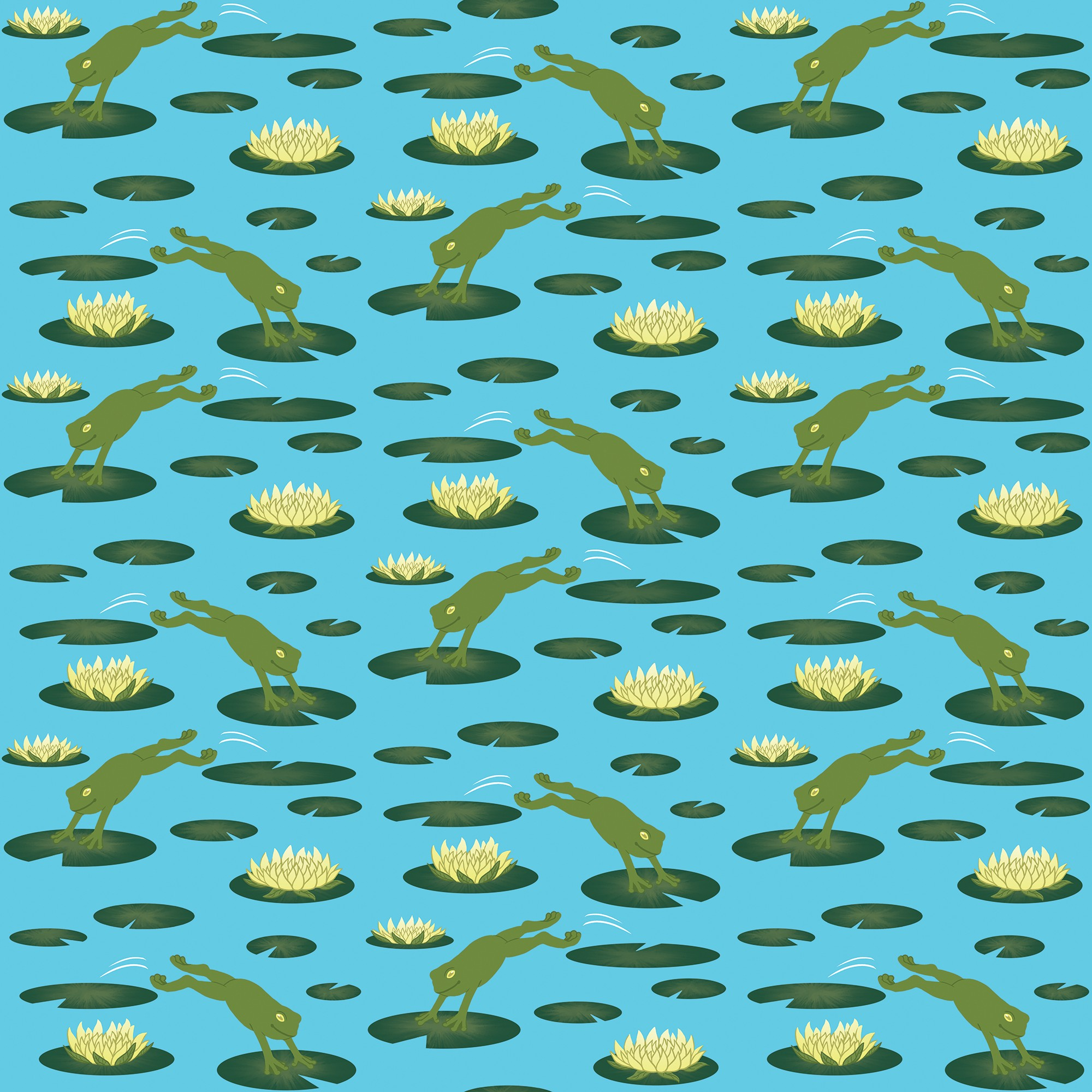 Repeating pattern of frogs jumping from lily pad to lily pad.