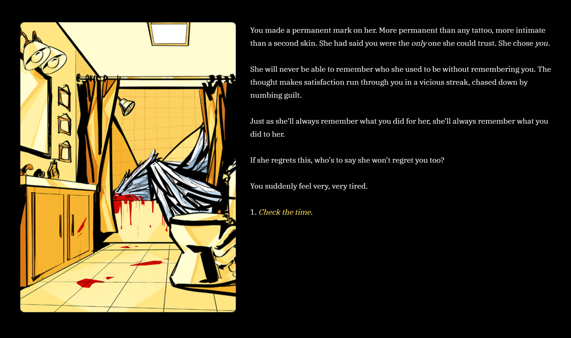 A screenshot of an interactive fiction game, CUT THEM OFF. In-game illustration featured is a yellow bathroom with two large severed wings in the bathtub, a trail of blood on the floor.