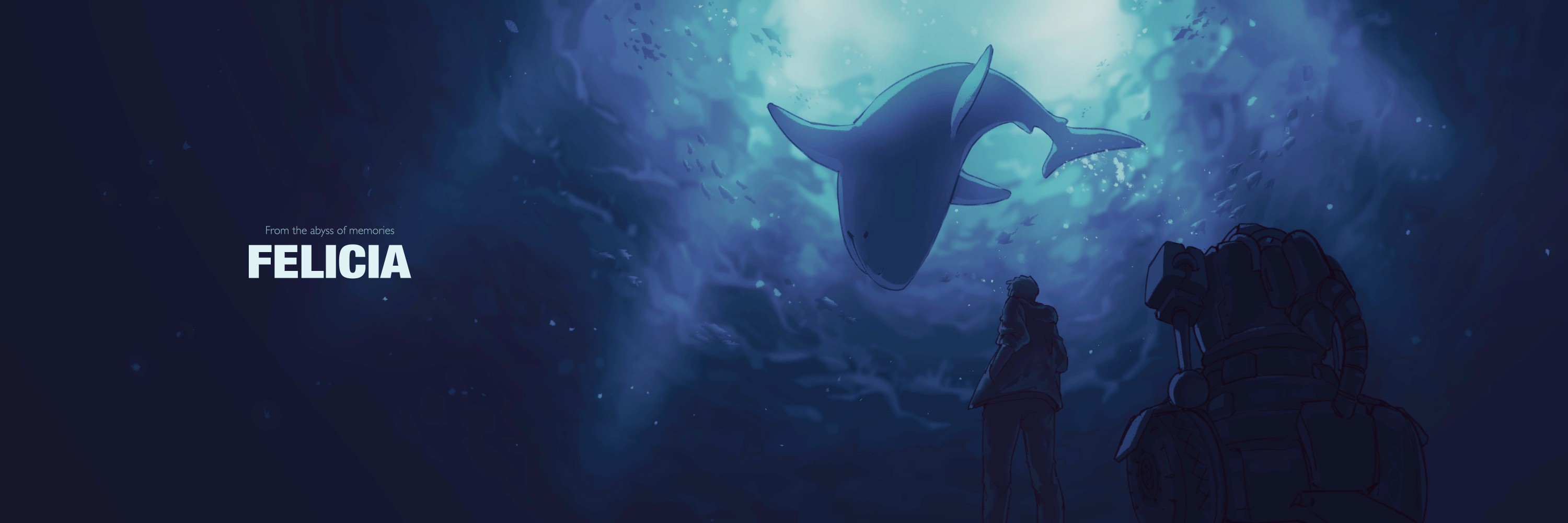 Ty and Felicia the great white shark, looking at each other in a surreal scene under the sea abyss. Light shines from behind Felicia and falls dark as it goes deeper.
