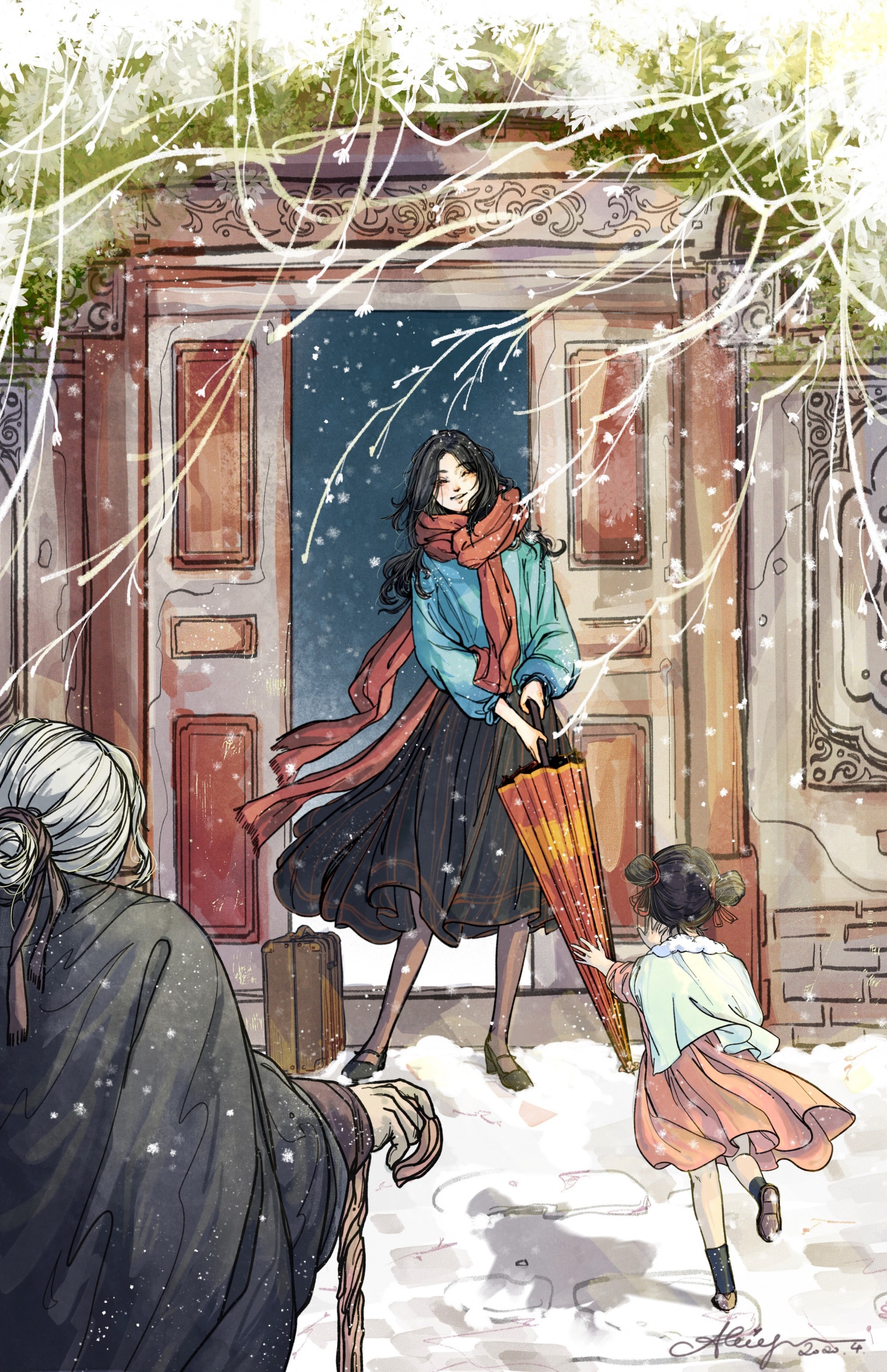 A narrated lovely scene about a young lady just got back home from her long term study abroad season and getting a warm welcome by her family on a snowy day.