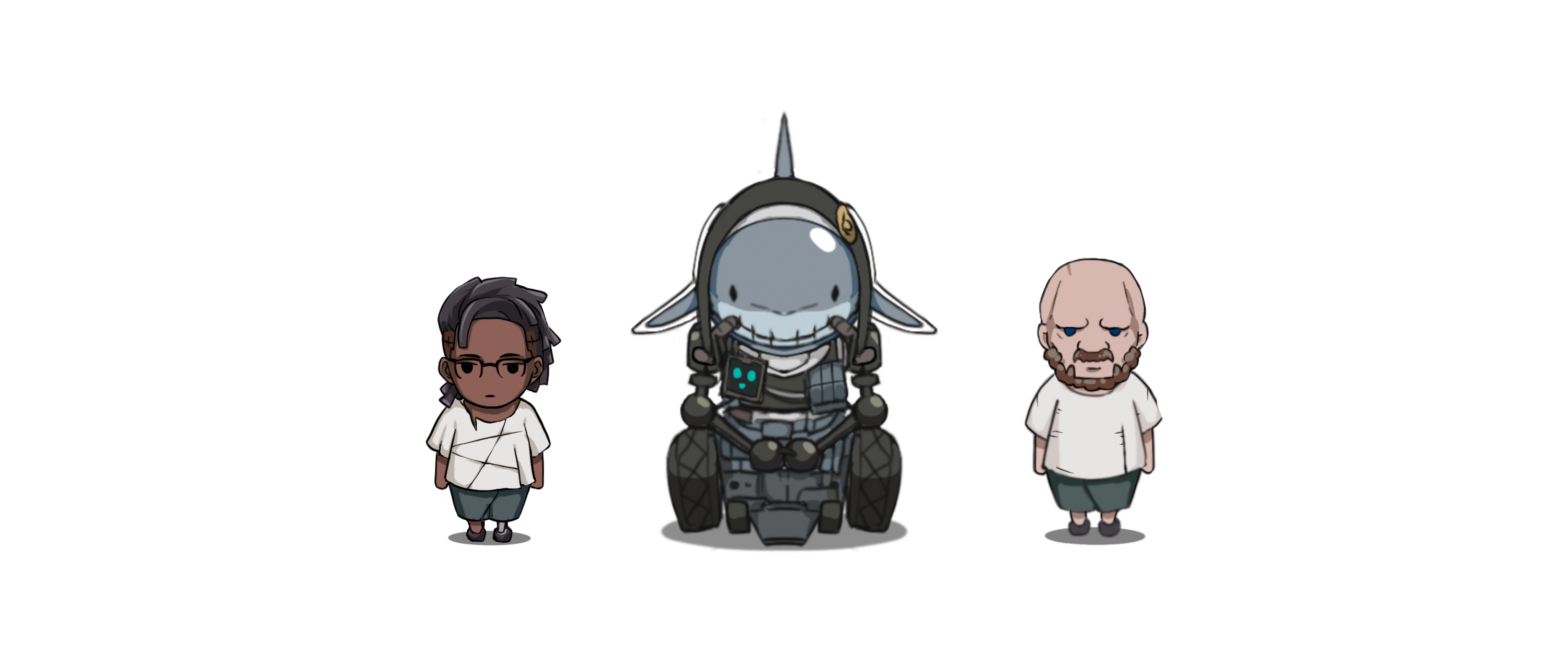 The in game walking sprites for the main characters. From left to right are Ty, Felicia and Jacob.