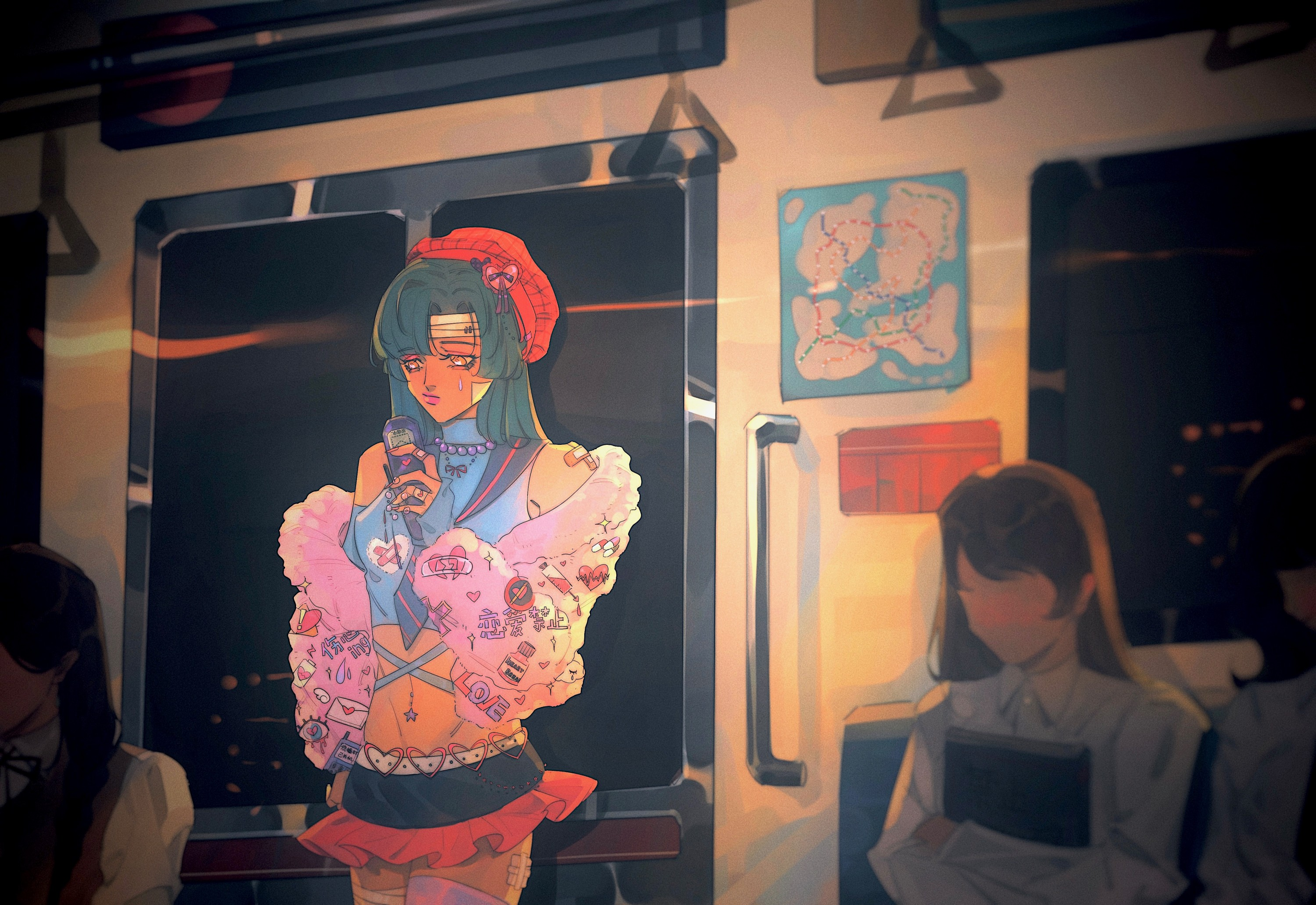 Fashionable girls in everyday life scenes