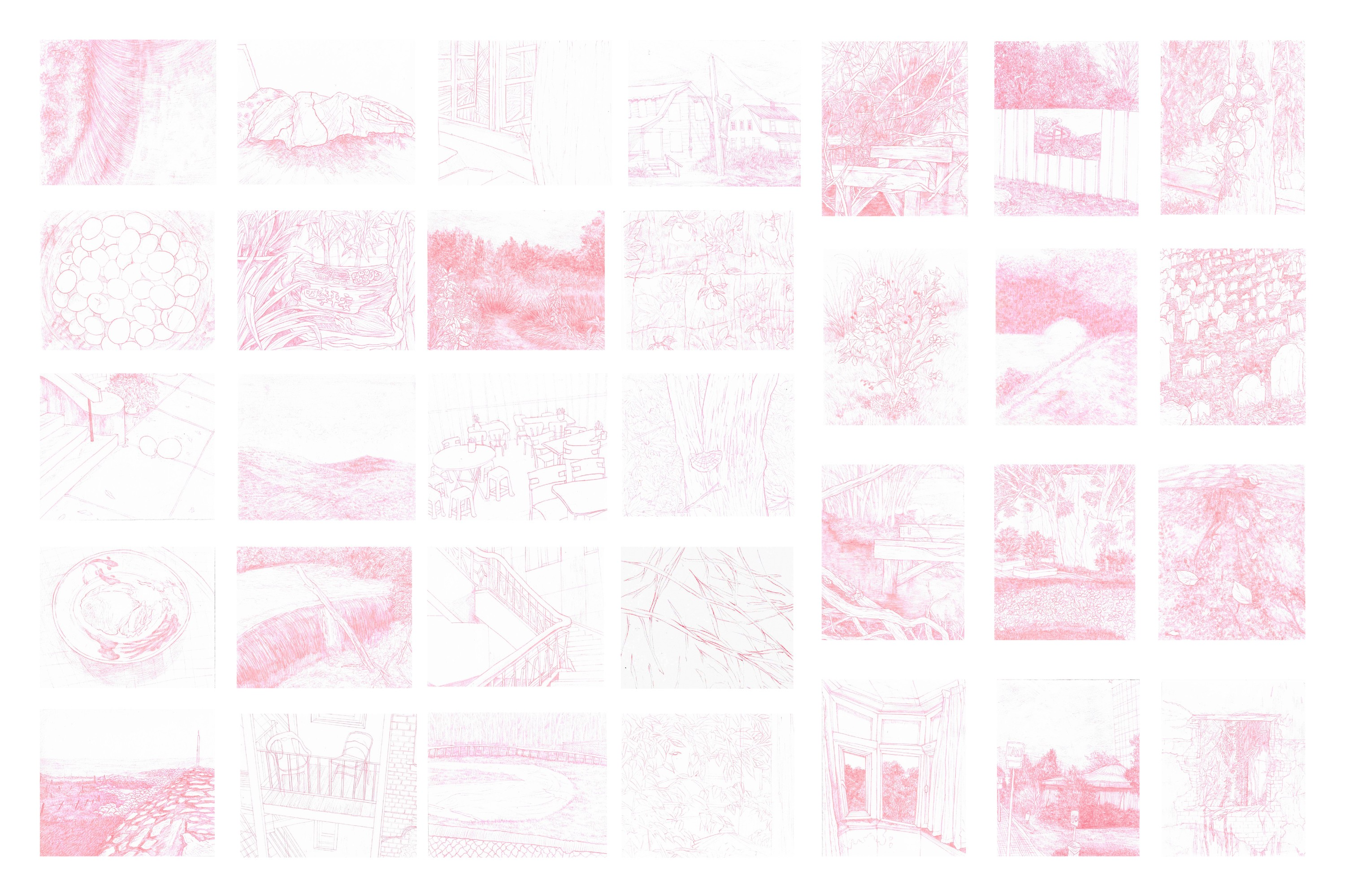 drawings of landscape and objects