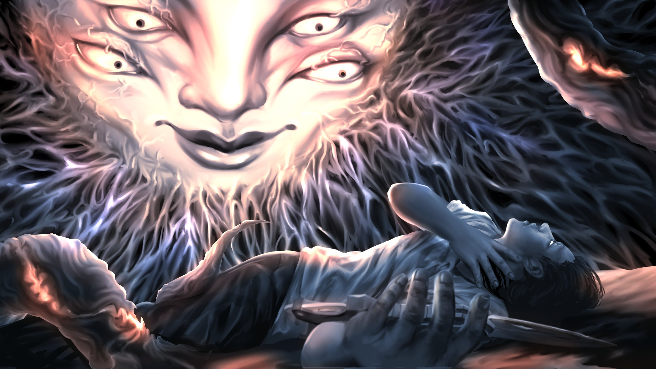 A man is laying on the ground. He is holding a knife with his left hand and covering his throat with his right hand. There is a shining large face in the sky with four eyes. There are also some tentacles around the page.
