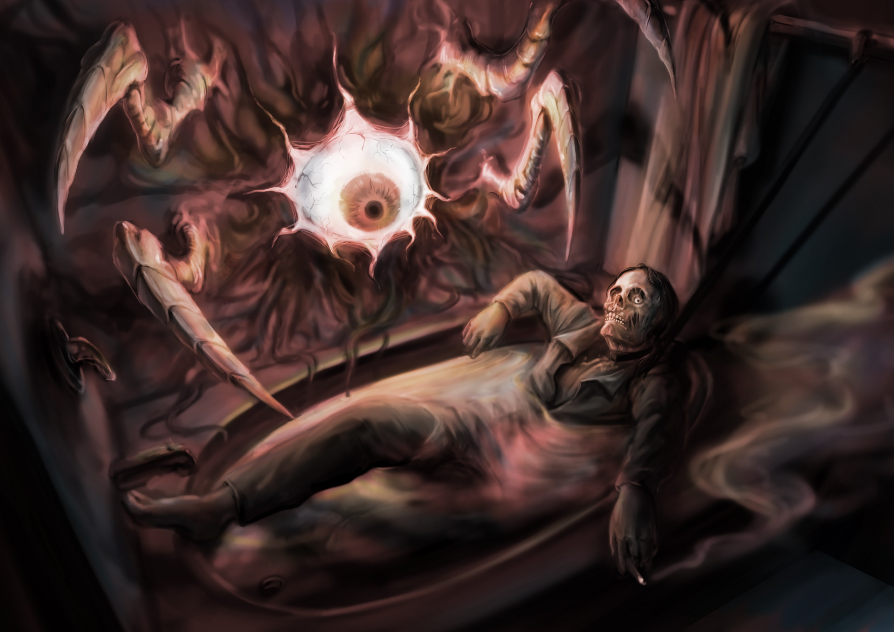 A man whose head is a skull lays in the bathtub. His left hand is holding a cigarette. There is a huge eyeball on the wall. There are also some claws reaching out from the wall.