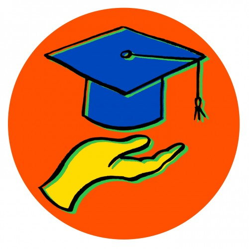 Drawing of a hand with a graduation cap above it