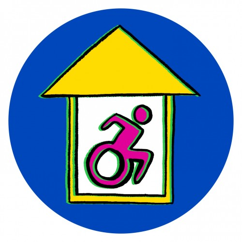 House icon with a disability icon inside of it