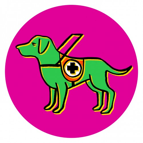 Drawing of dog wearing a harness with a first aid symbol