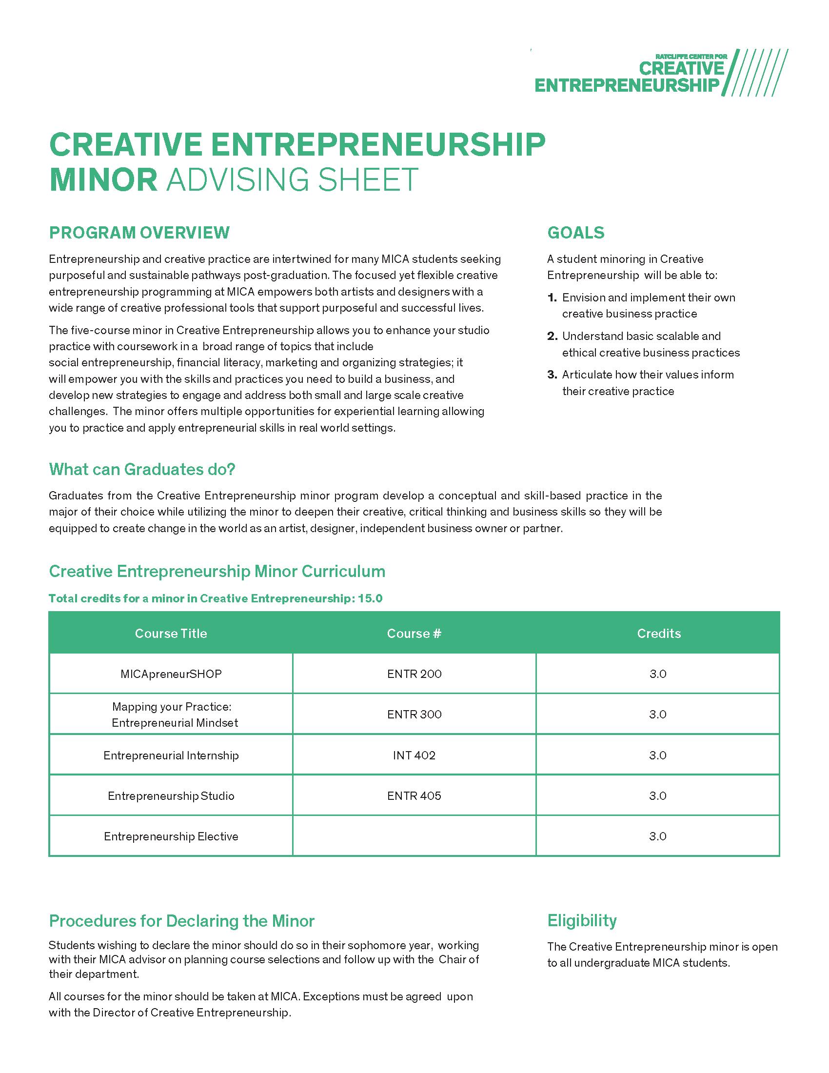 Creative Entrepreneurship Minor Advising Sheet