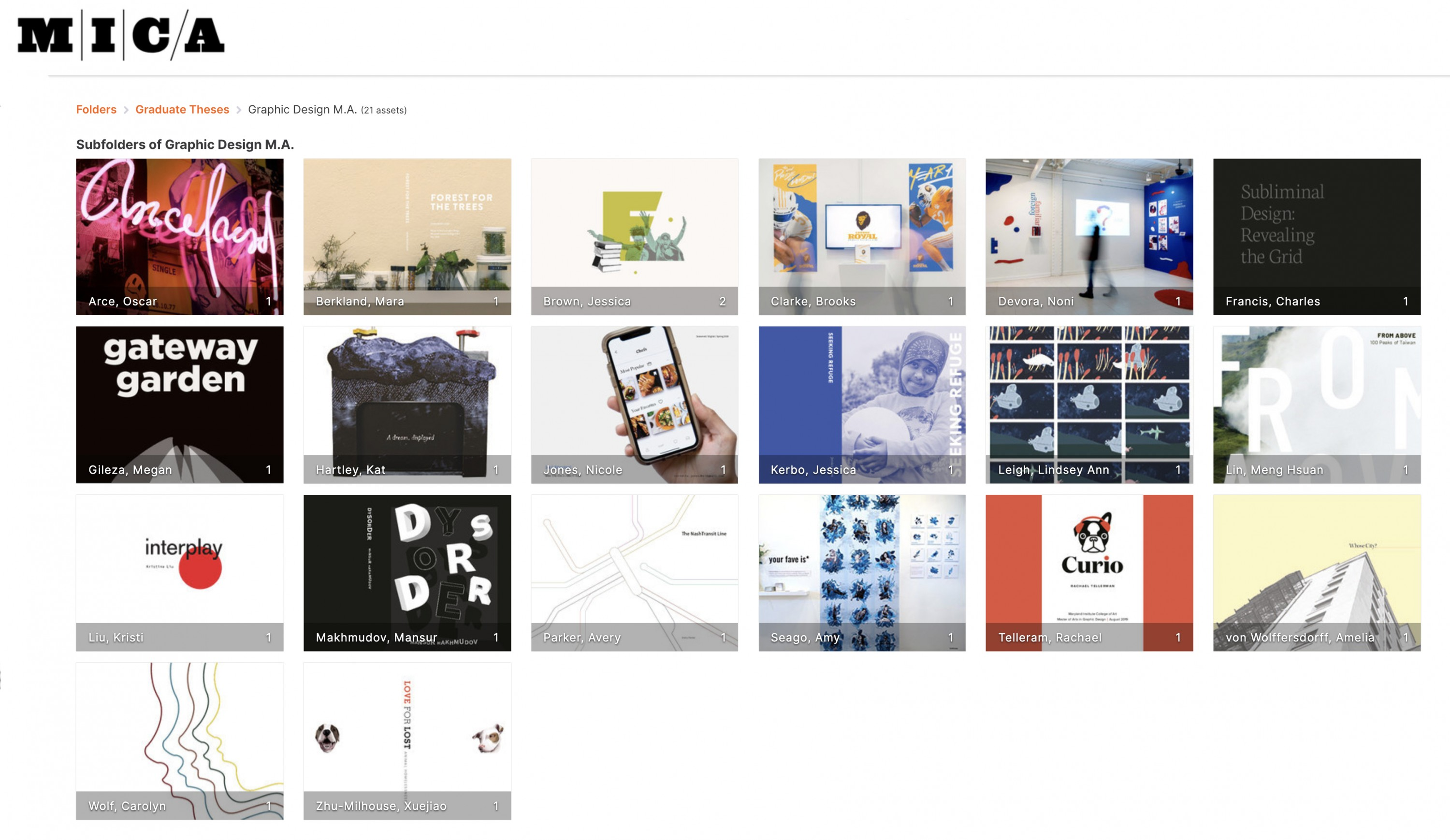 Screenshot of MICA Digital Library Graphic Design theses folder