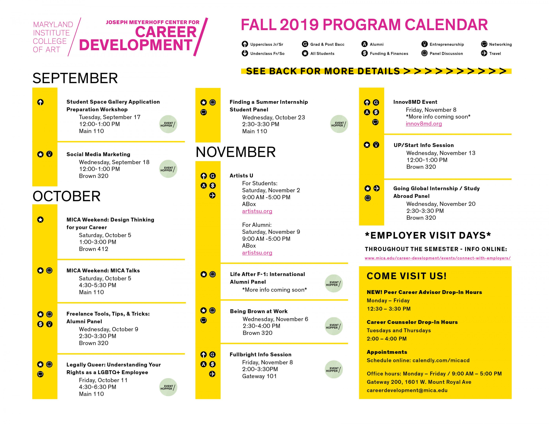 Fall 2019 Career Development Program Calendar