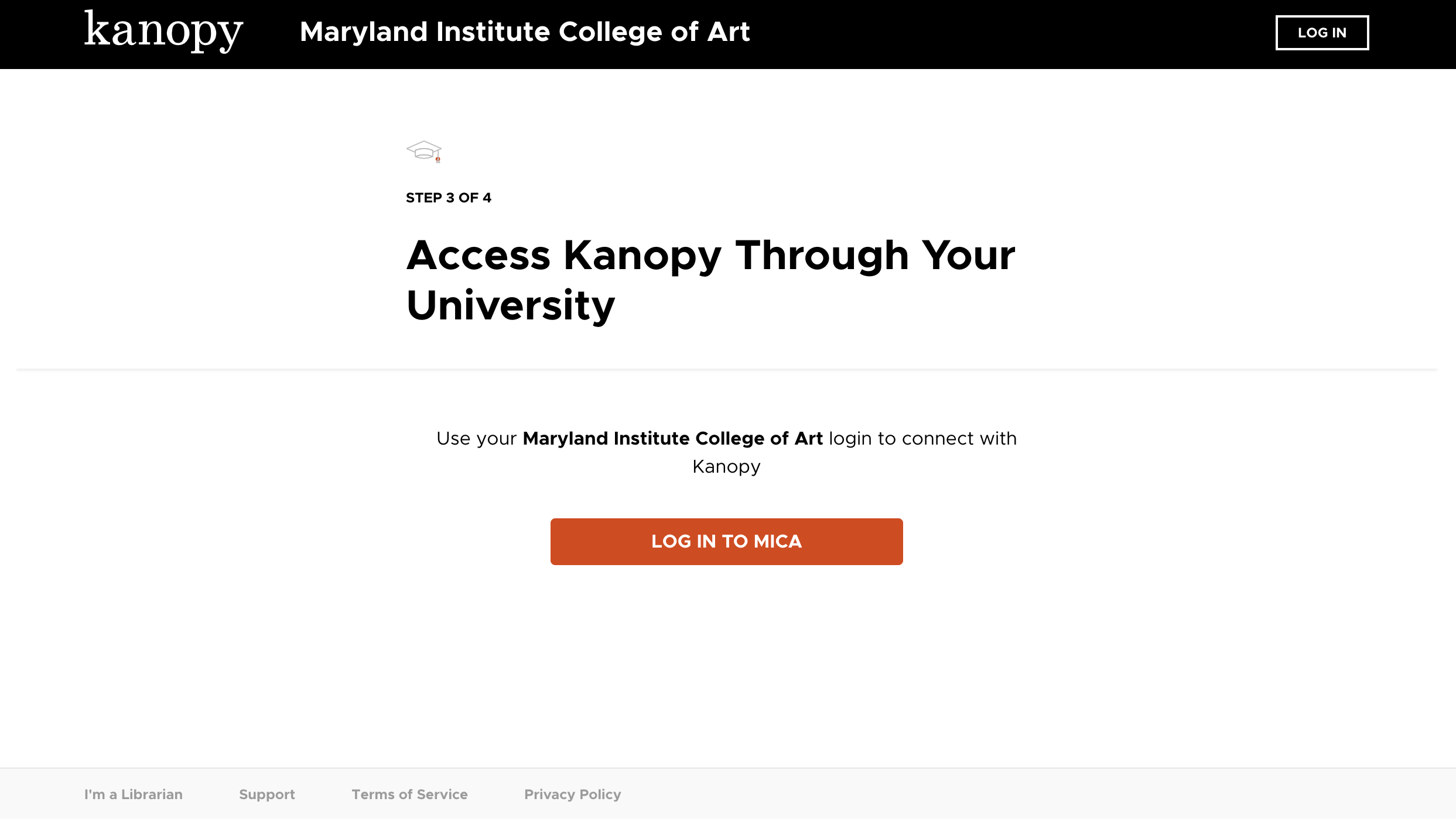 Screenshot of Kanopy asking you to login to your MICA account