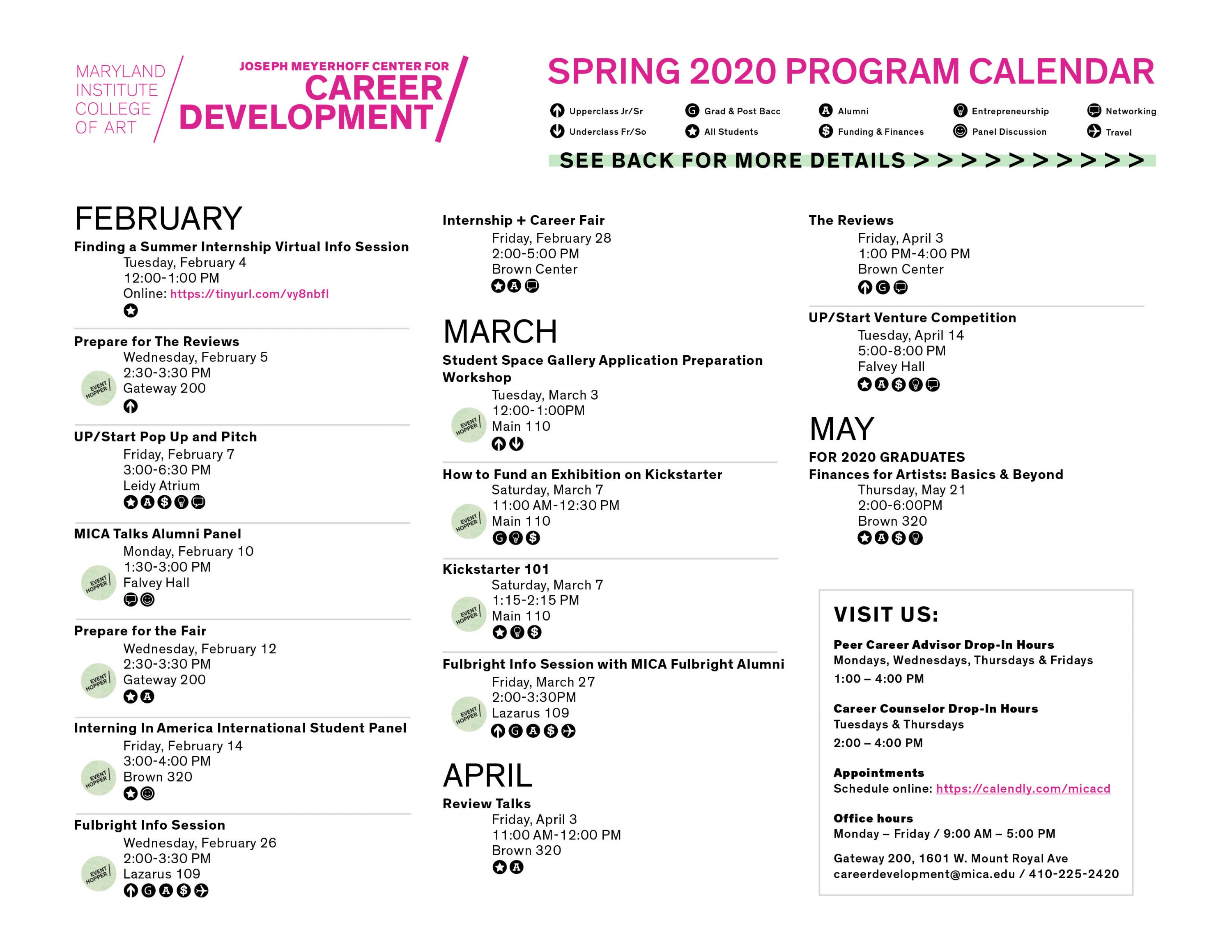 Spring 202 Career Development Program Calendar