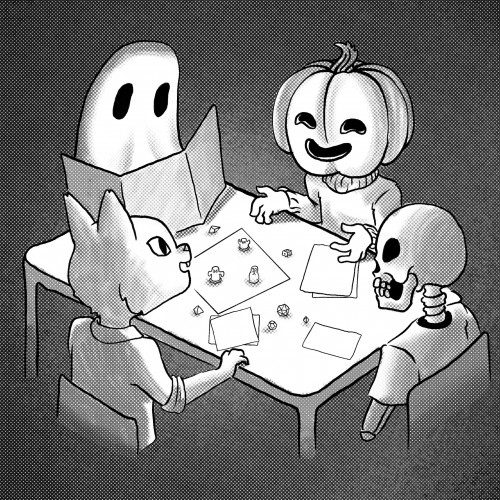 Four Halloween characters playing dungeons and dragons. Credit to BreAnden Benson