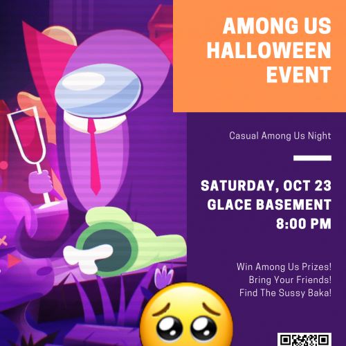 Among Us poster - Win Among Us prizes! Bring your friends! Find the sussy Baka!