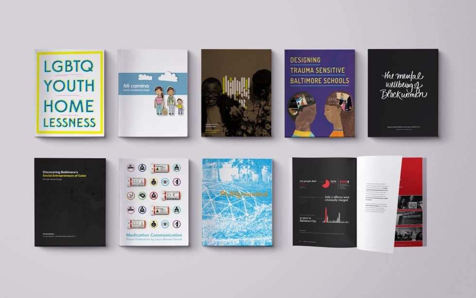 Eight covers and an interior spread of MASD thesis projects.