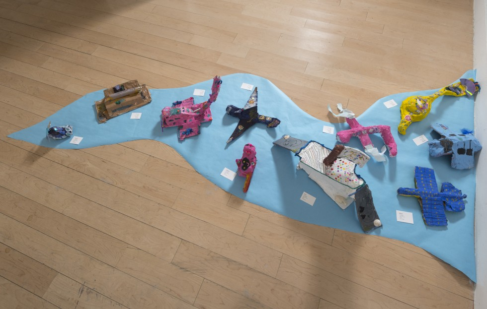 Land, air, and sea vehicles made by students in Aura Evans' class.