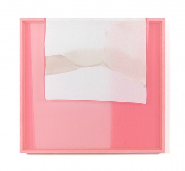 Abstract painting, a white square is draped across a canvas and frame that are both painted pink.