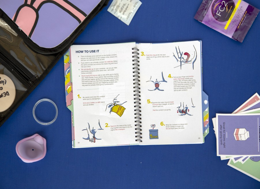 A photo of an interior spread of the Birth Control Method Guide.